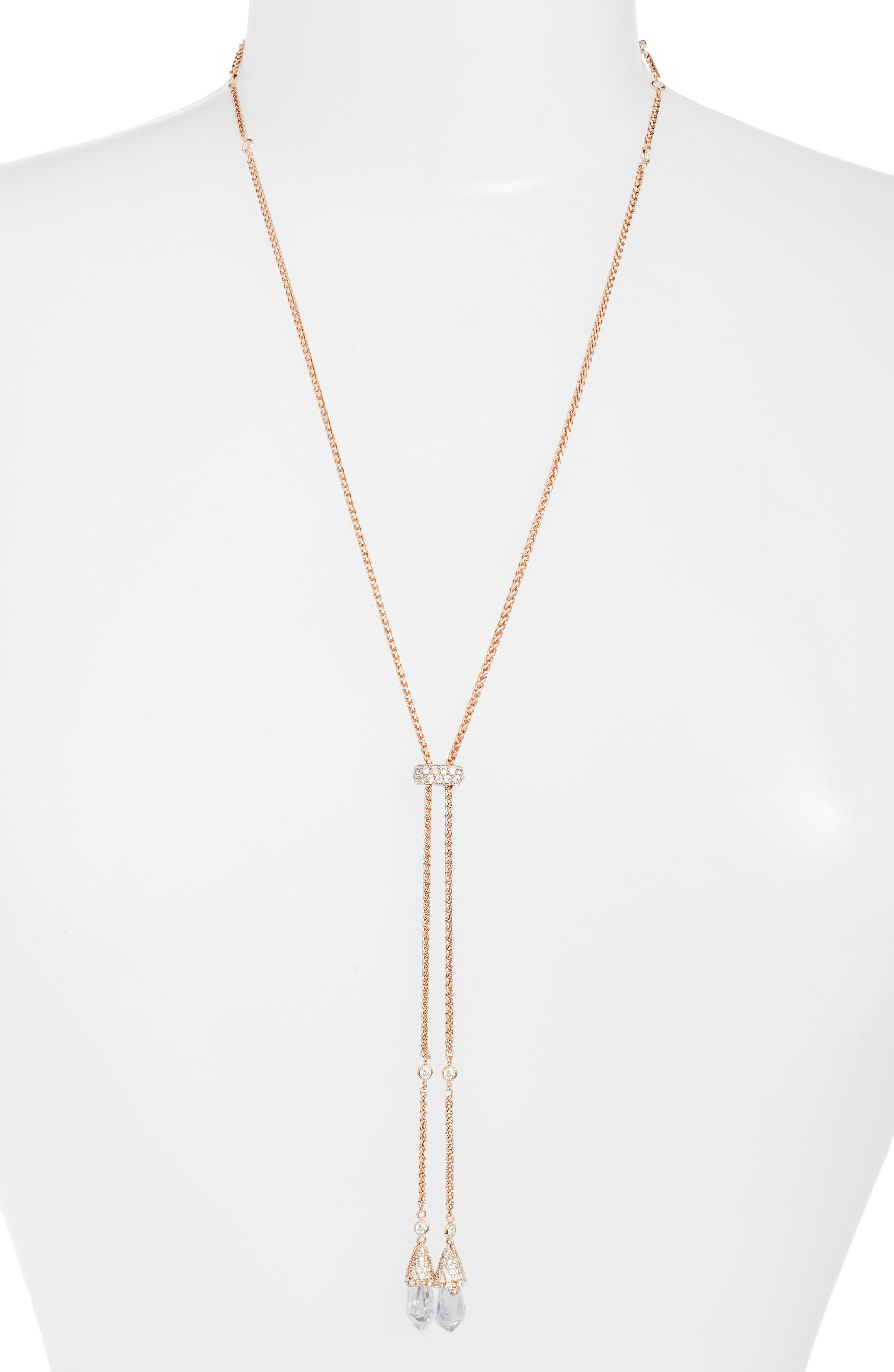 Sivan Lariat Necklace,                         Main,                         color, Rose Gold