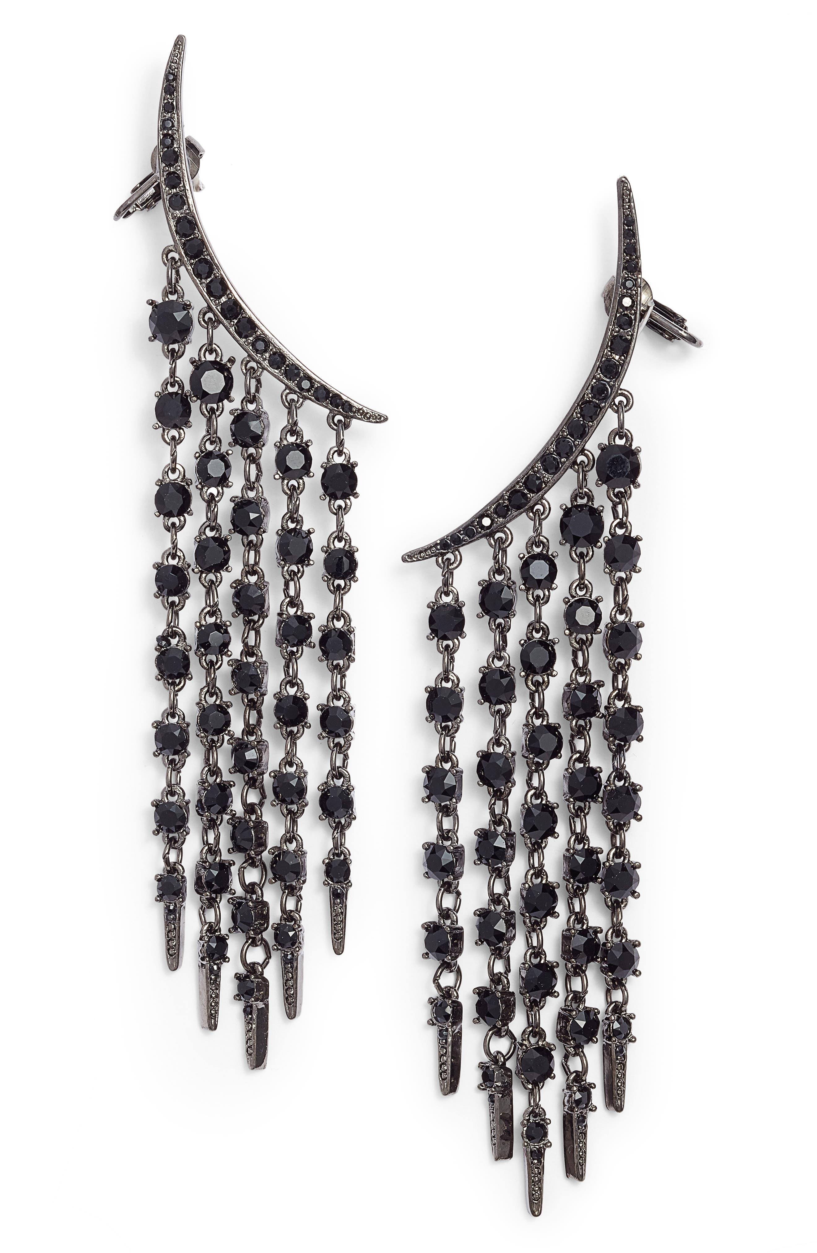 Tendril Crystal Earrings,                         Main,                         color, Black Jet