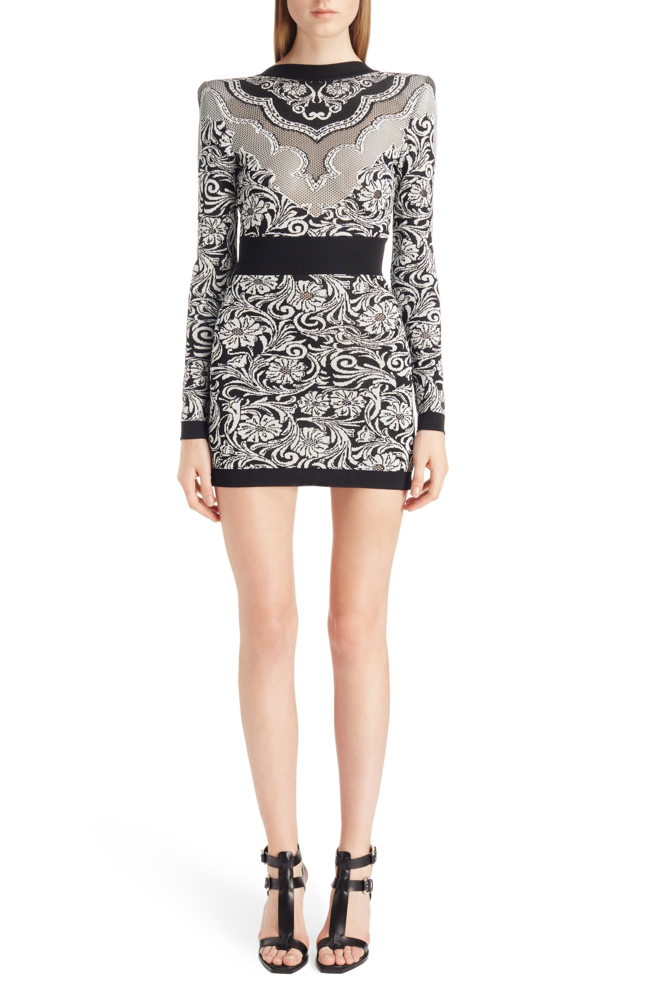 Baroque Knit Minidress,                         Main,                         color, Black And White