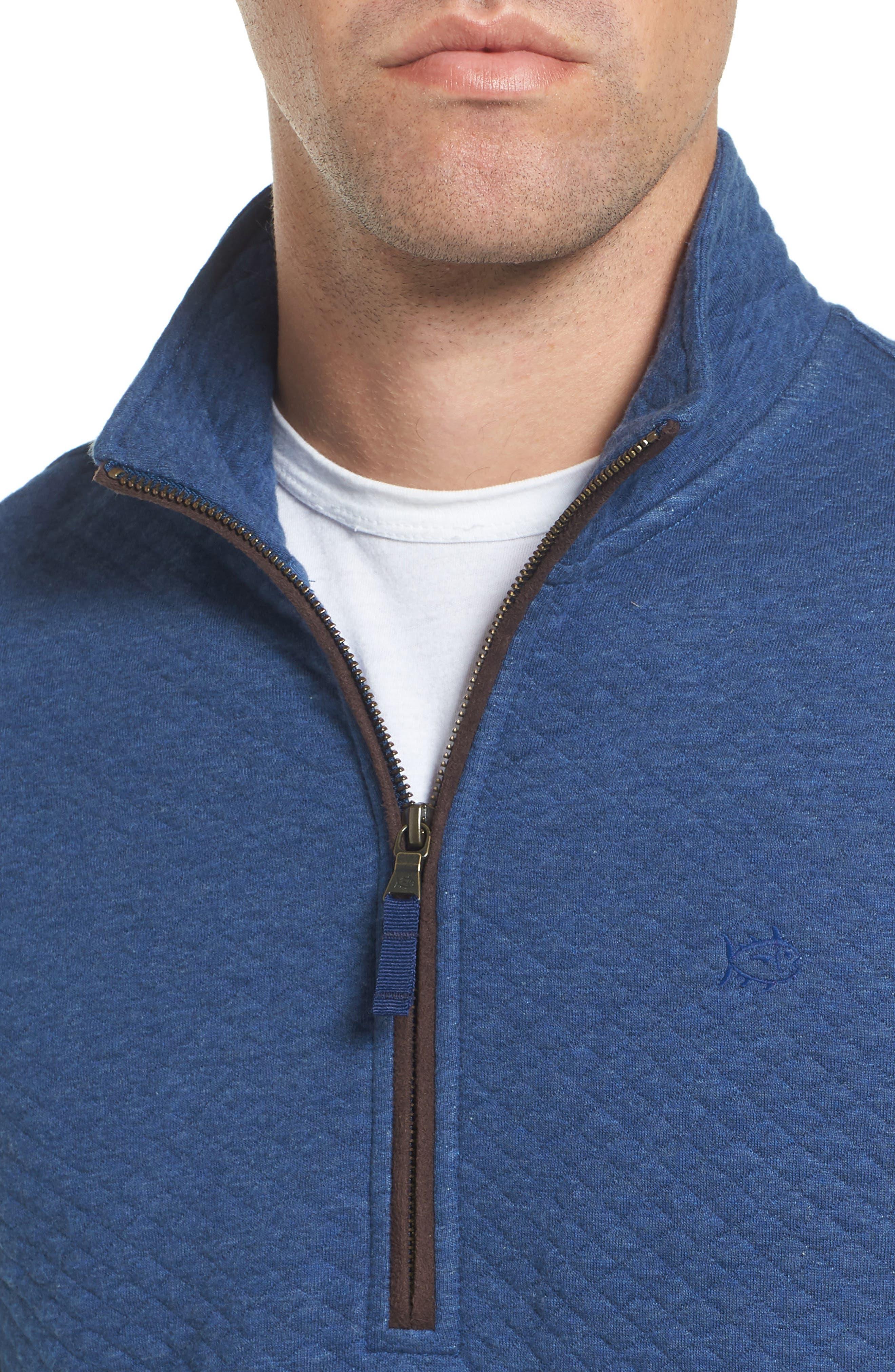 Sundown Quilted Quarter Zip Pullover,                             Alternate thumbnail 4, color,                             Skipper Blue