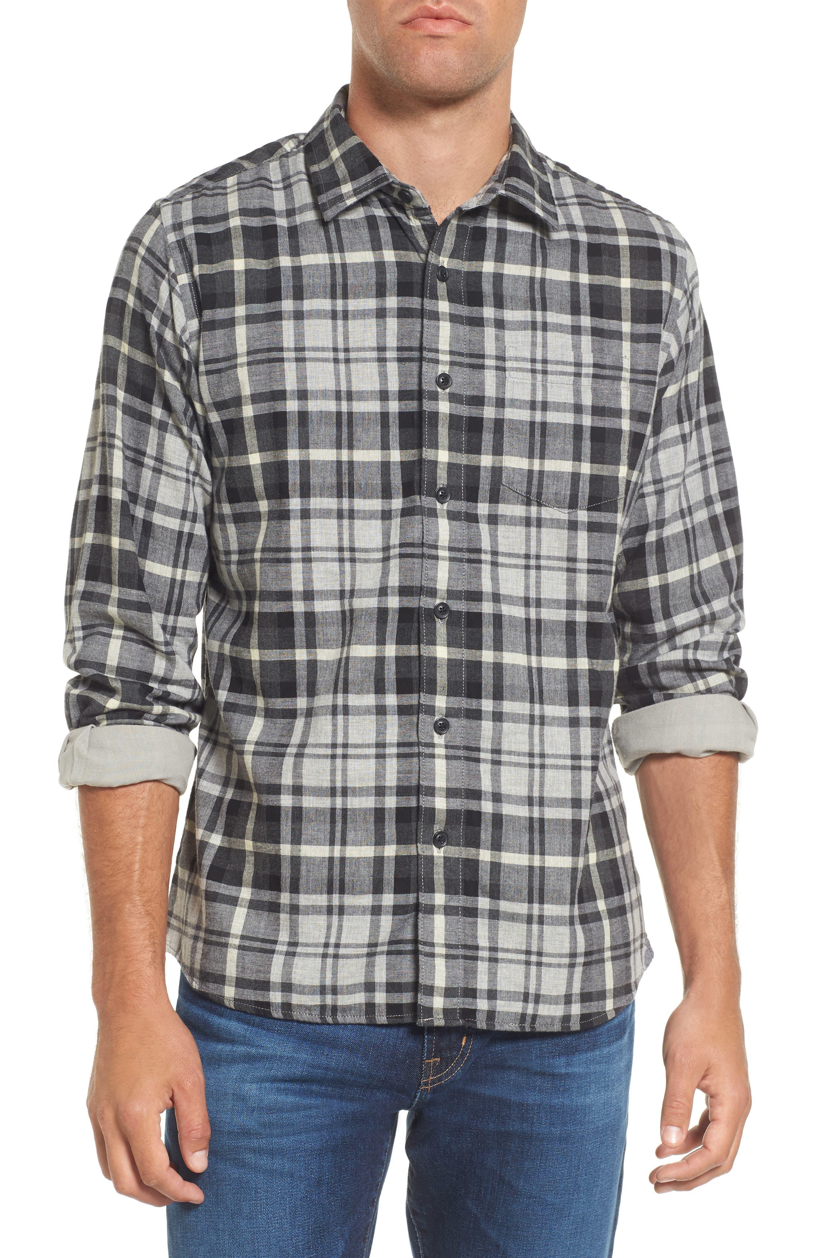 Heath Modern Fit Plaid Double Cloth Sport Shirt,                         Main,                         color, Charcoal Gray