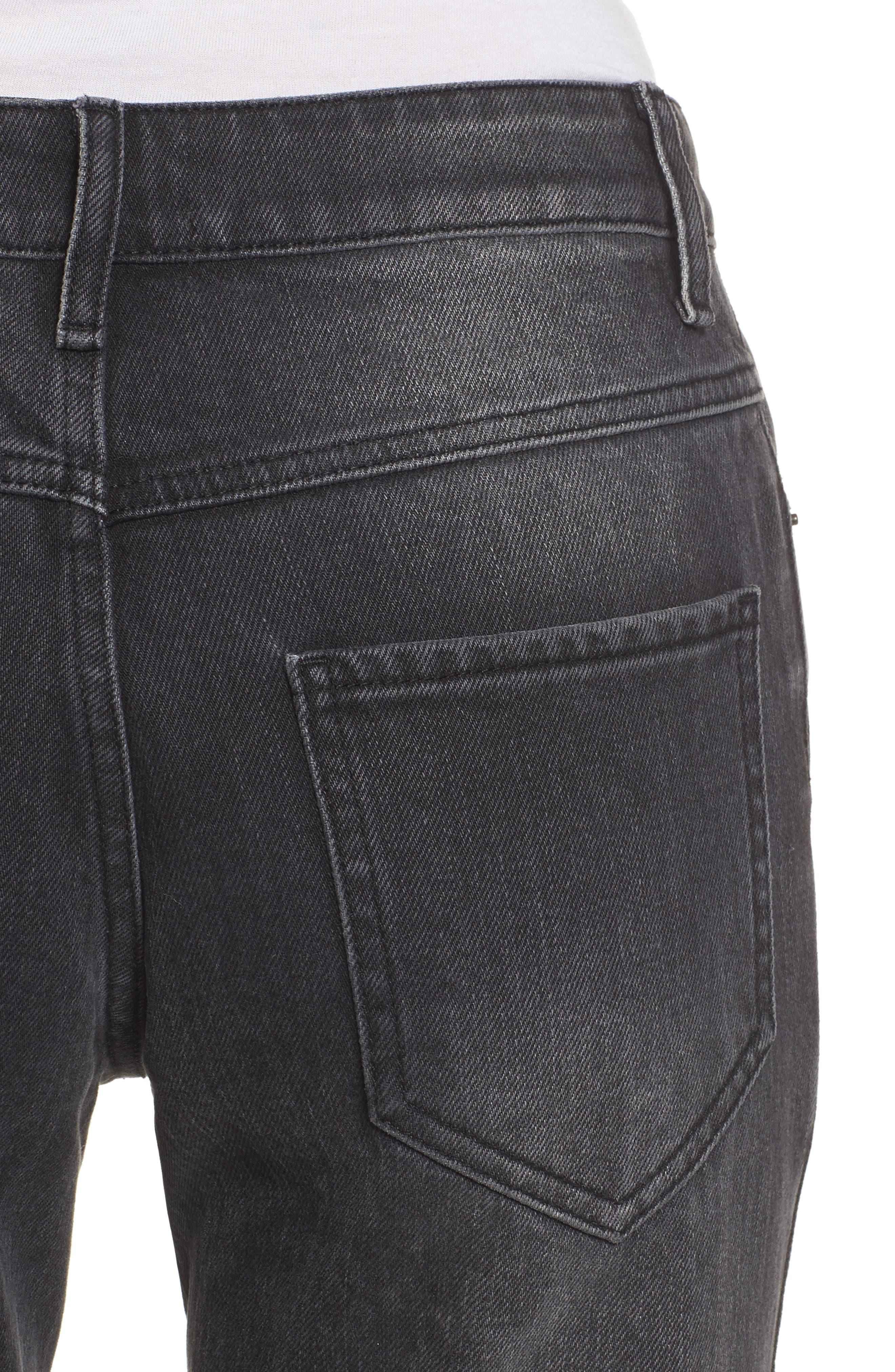 Alternate Image 4  - Sincerely Jules High Waist Crop Flare Jeans (Washed Black)