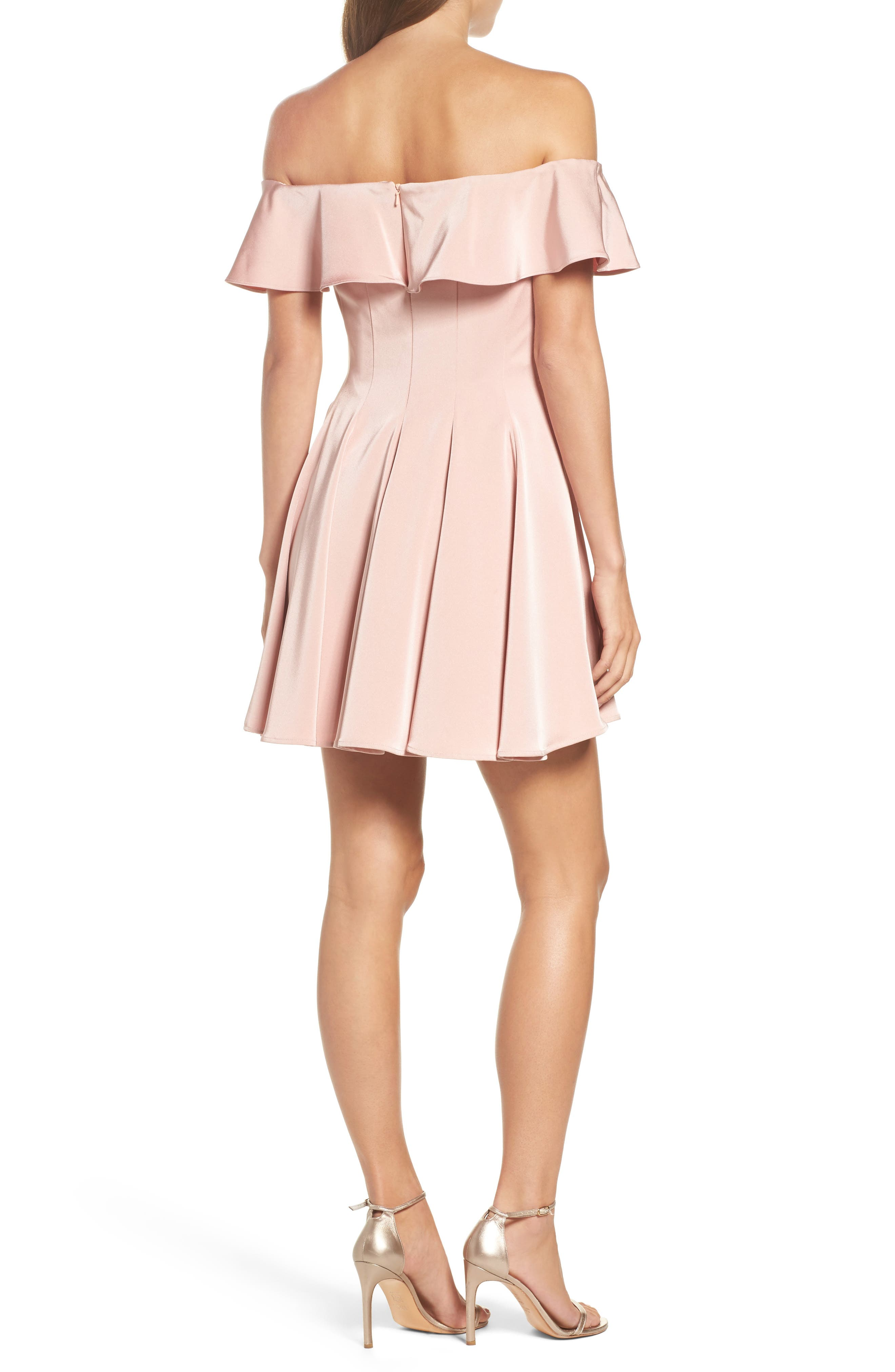 Ruffle Off the Shoulder Fit & Flare Dress,                             Alternate thumbnail 2, color,                             Blush
