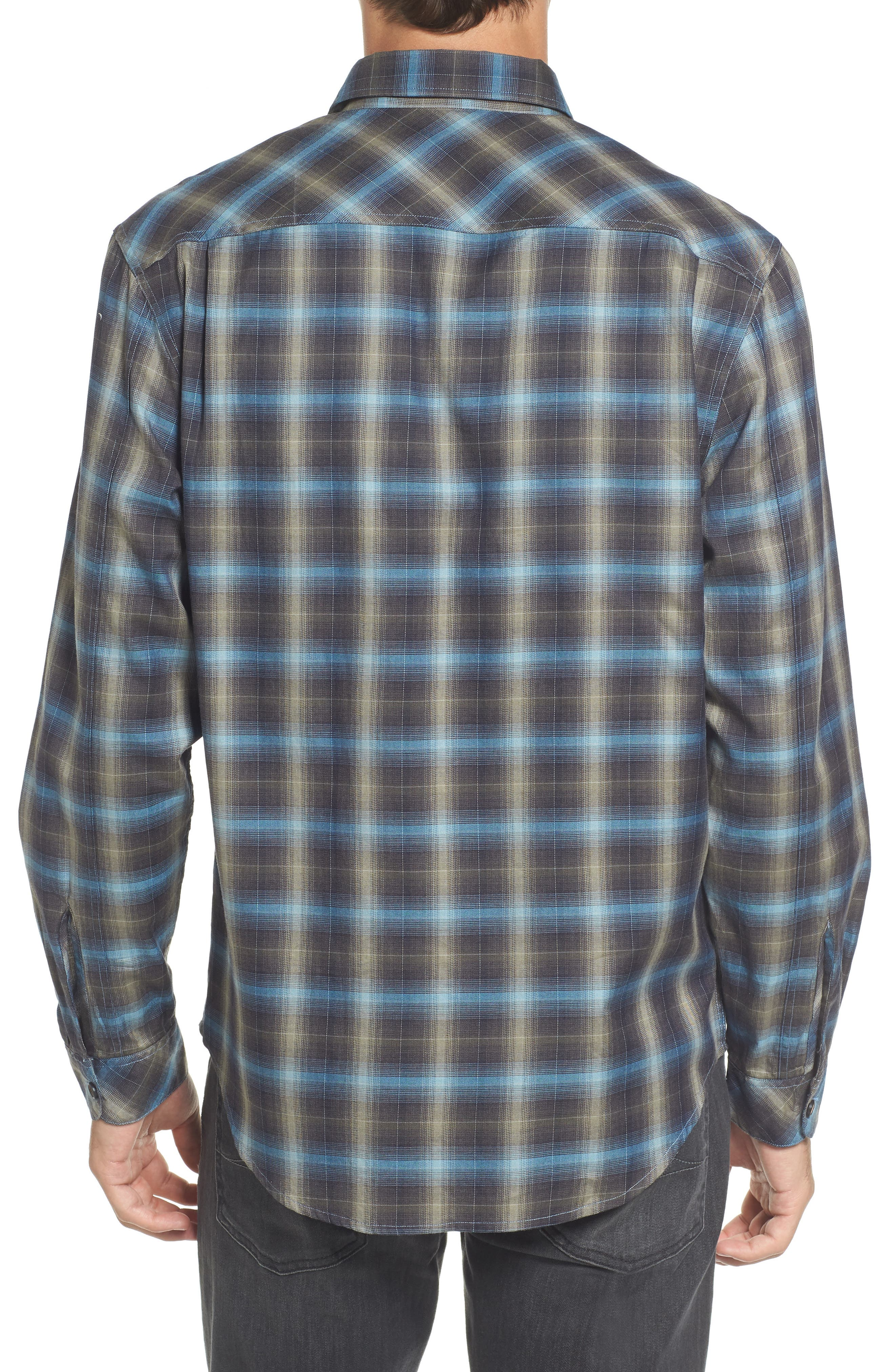 Walnut Plaid Garment Washed Flannel Shirt,                             Alternate thumbnail 2, color,                             Forest