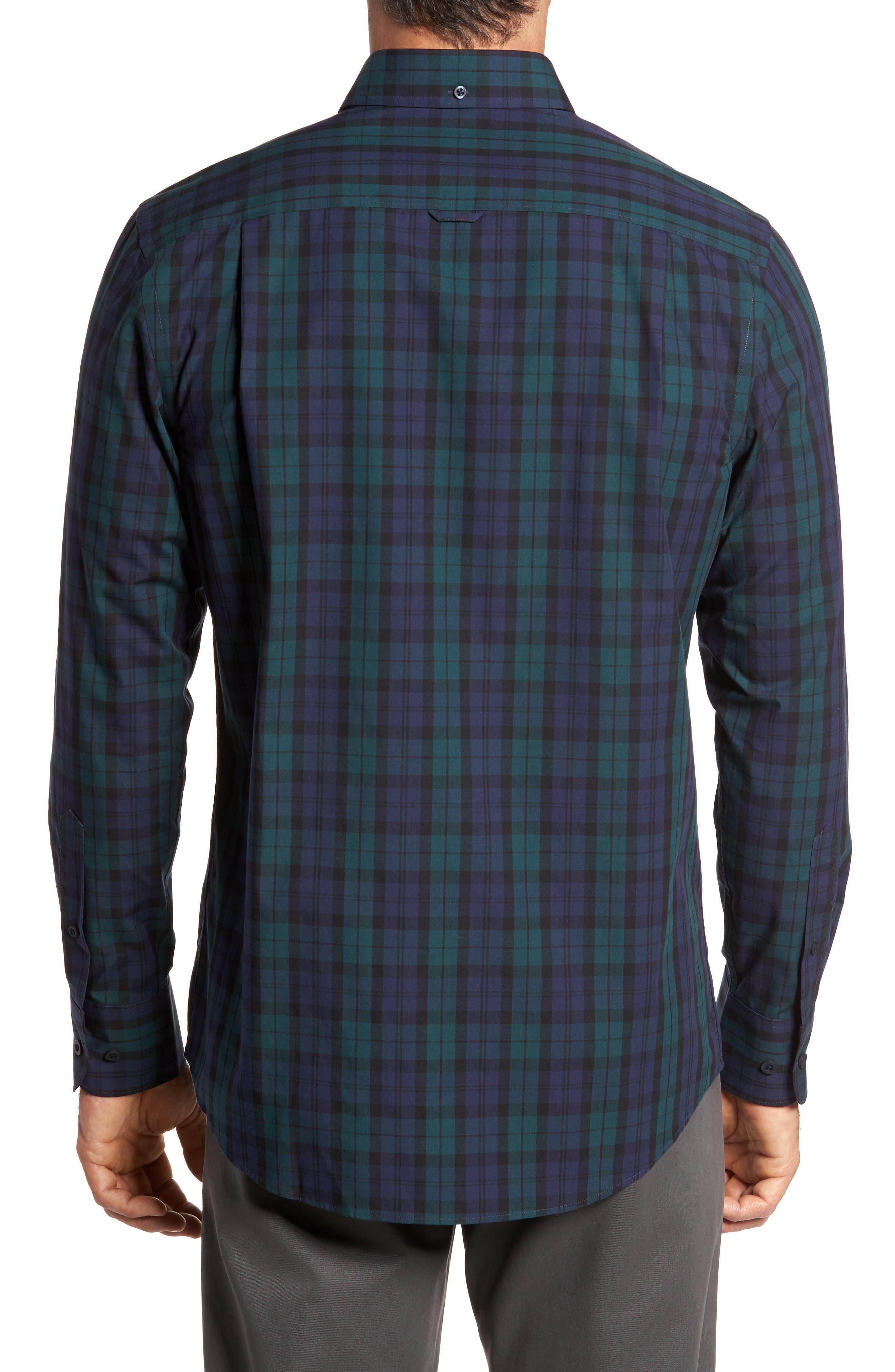 Regular Fit Non-Iron Plaid Sport Shirt,                             Alternate thumbnail 2, color,                             Green Bug Navy Tartan