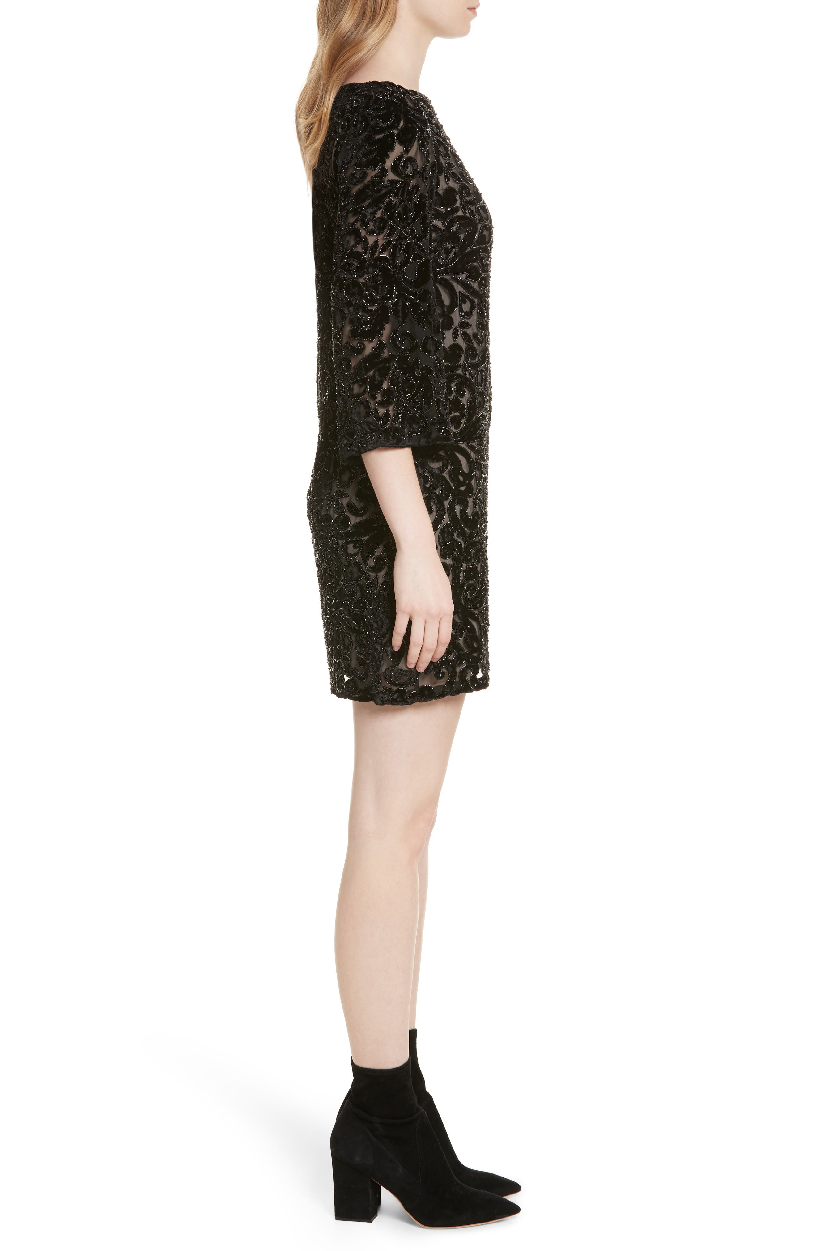 Riska Lace Bateau Neck Shift Dress,                             Alternate thumbnail 3, color,                             Black