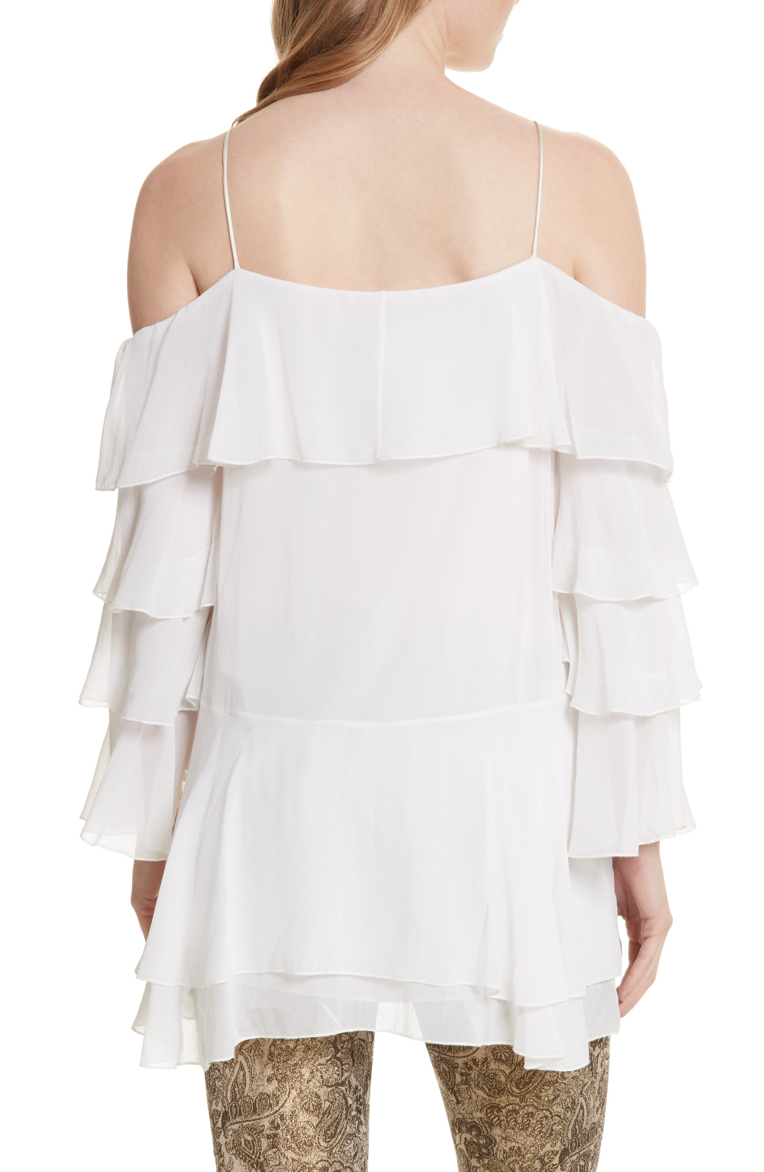 Alternate Image 2  - Alice + Olivia Lexia Lyrd Cold Shoulder Ruffle Silk Top