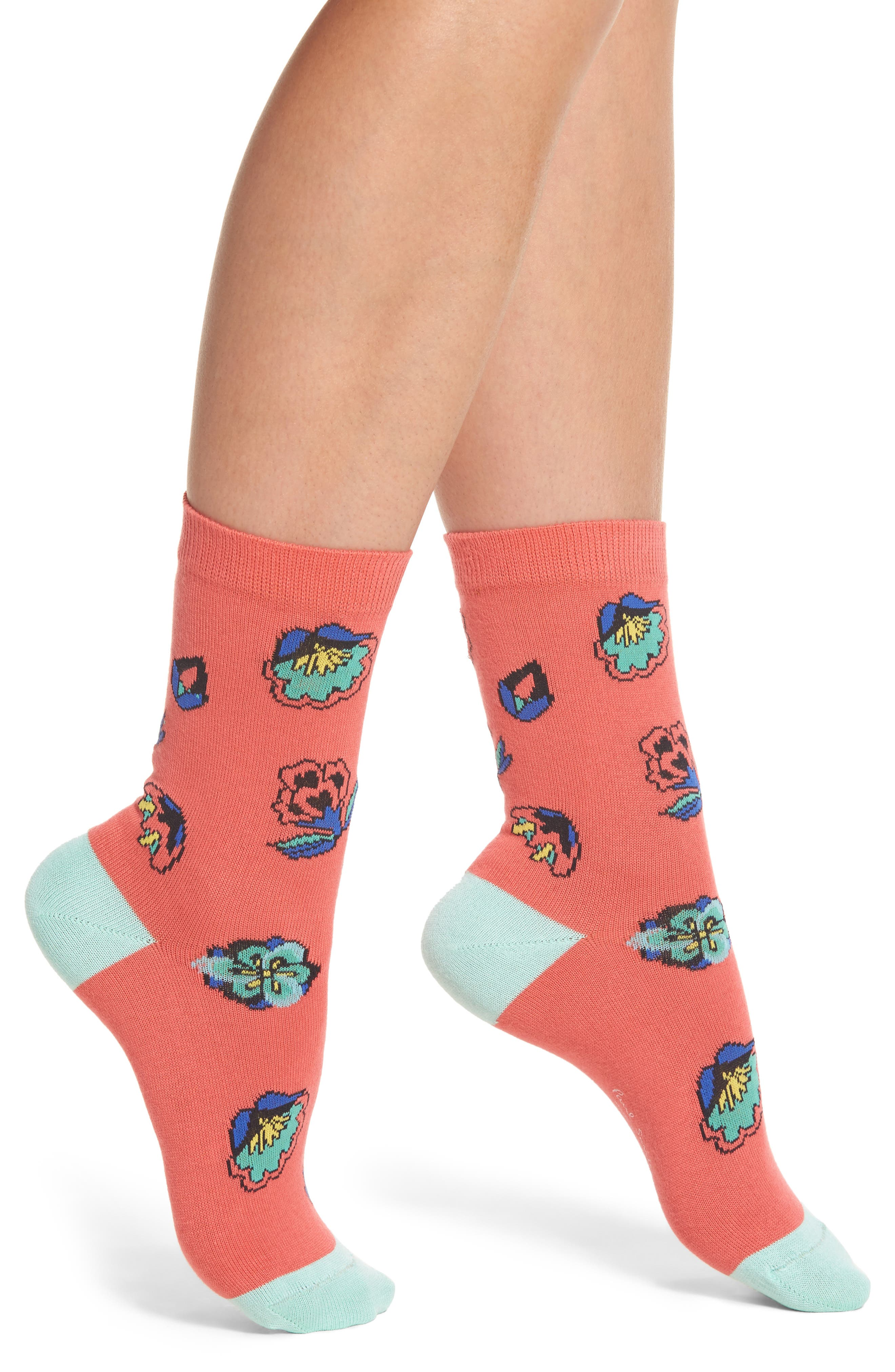 Eloise Kyoto Crew Socks,                             Main thumbnail 1, color,                             Coral