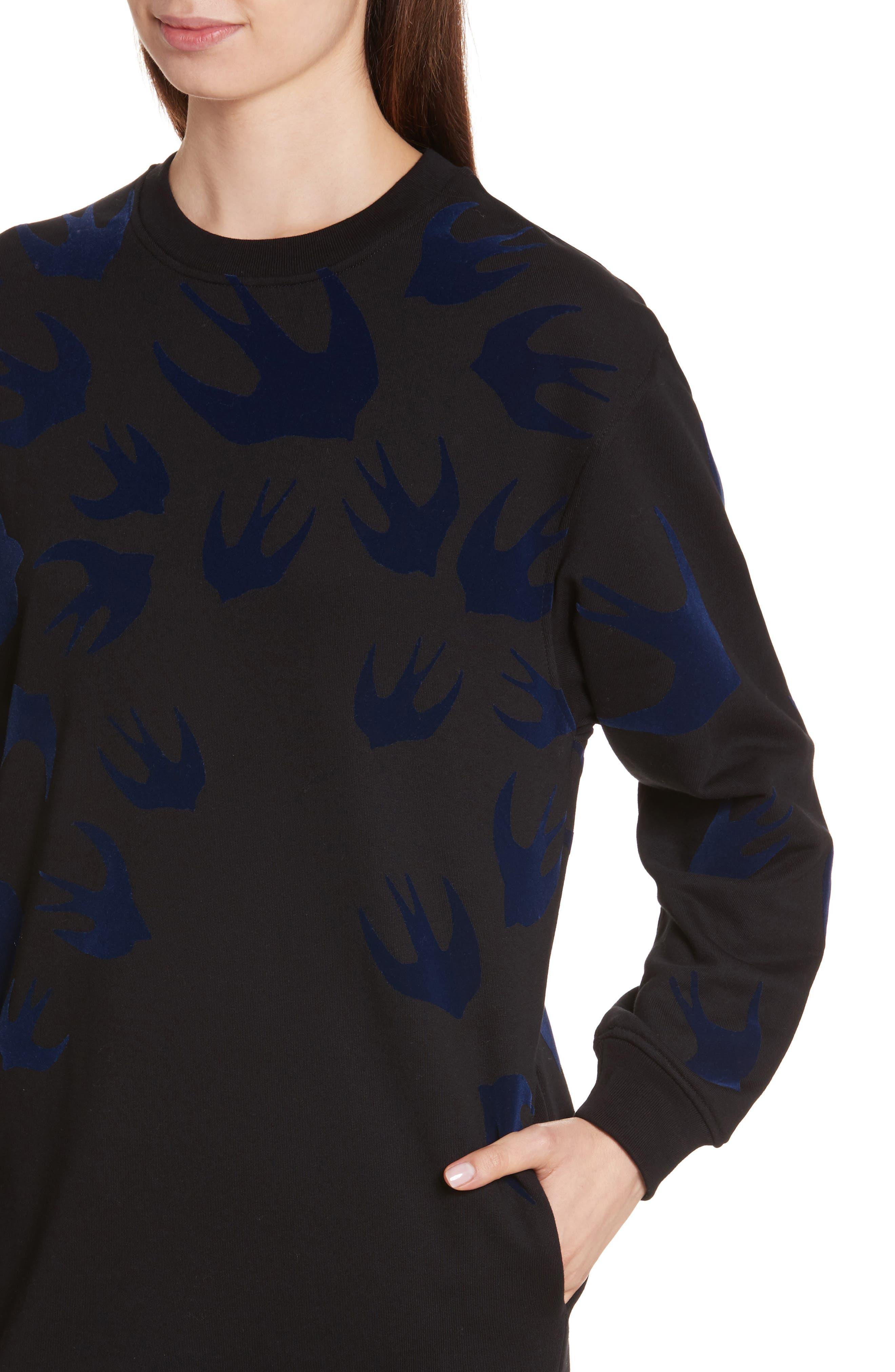 Swallow Classic Sweatshirt Dress,                             Alternate thumbnail 4, color,                             Black Multi