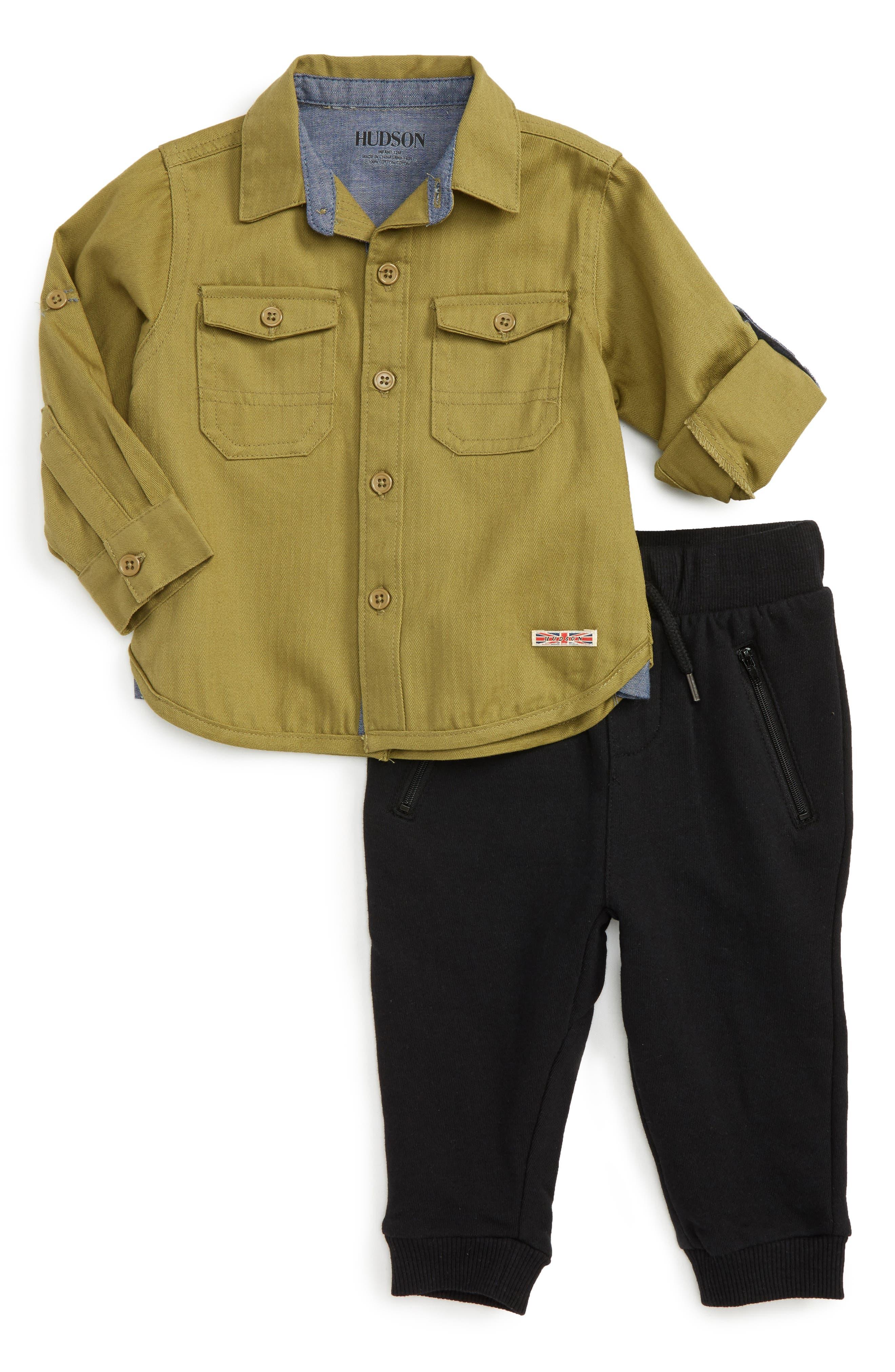 Alternate Image 1 Selected - Hudson Kids Woven Shirt & Sweatpants Set (Baby Boys)