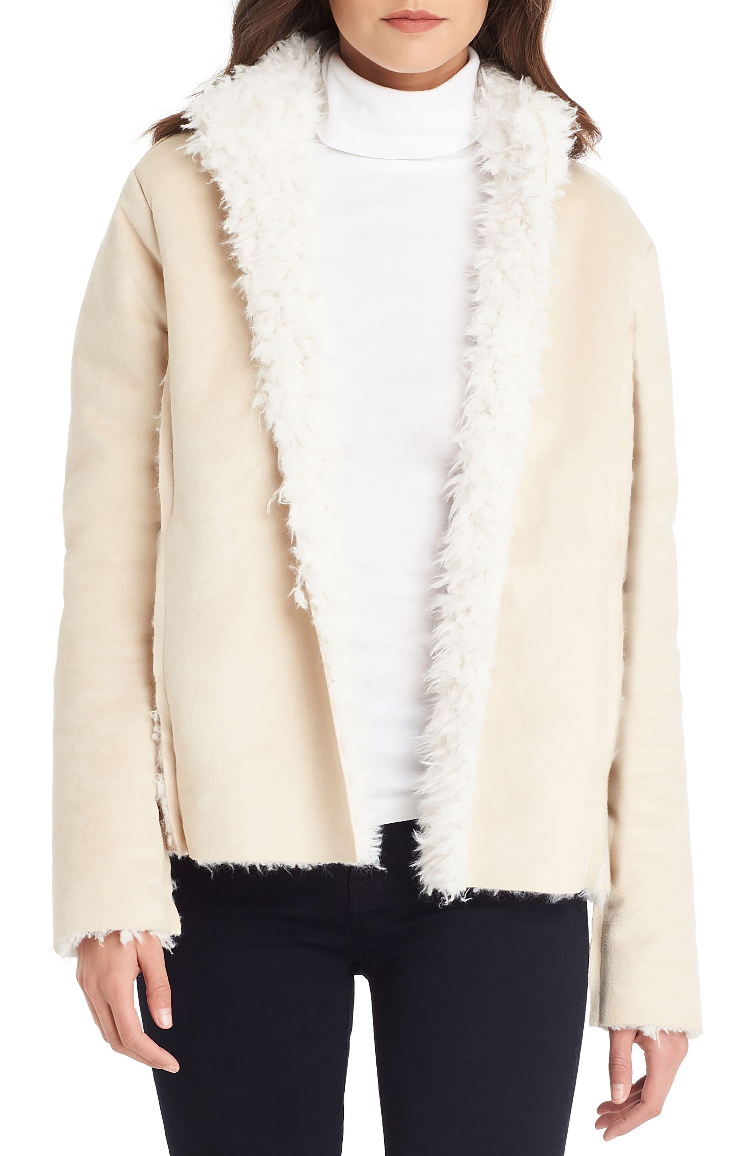 Reversible Faux Fur Coat,                         Main,                         color, Chalk