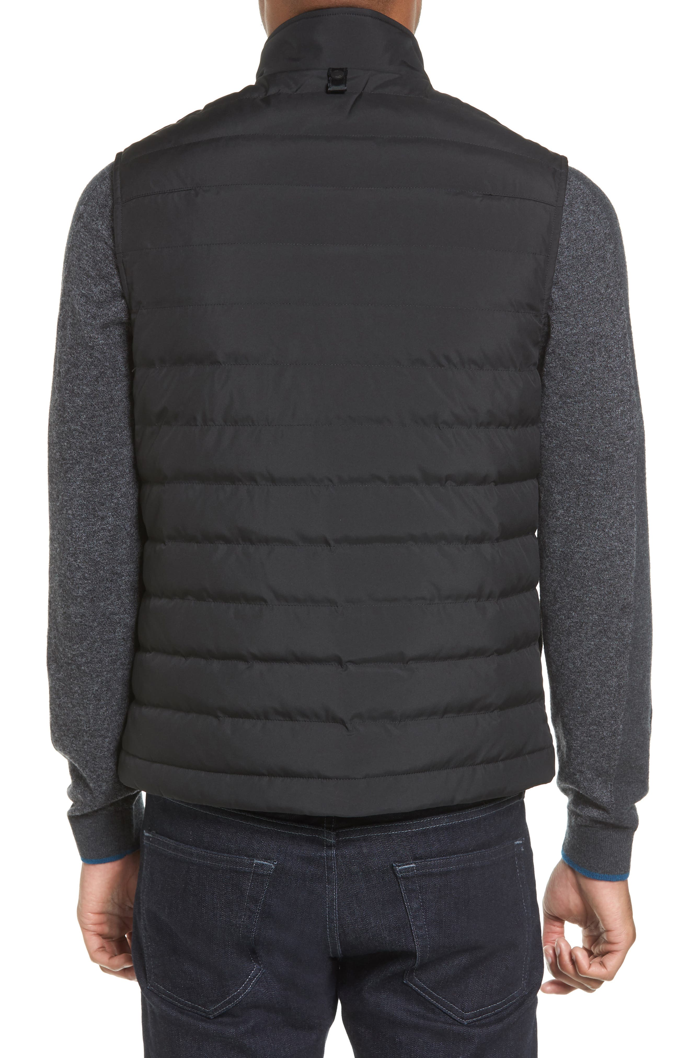 Jozeph Quilted Down Vest,                             Alternate thumbnail 2, color,                             Black