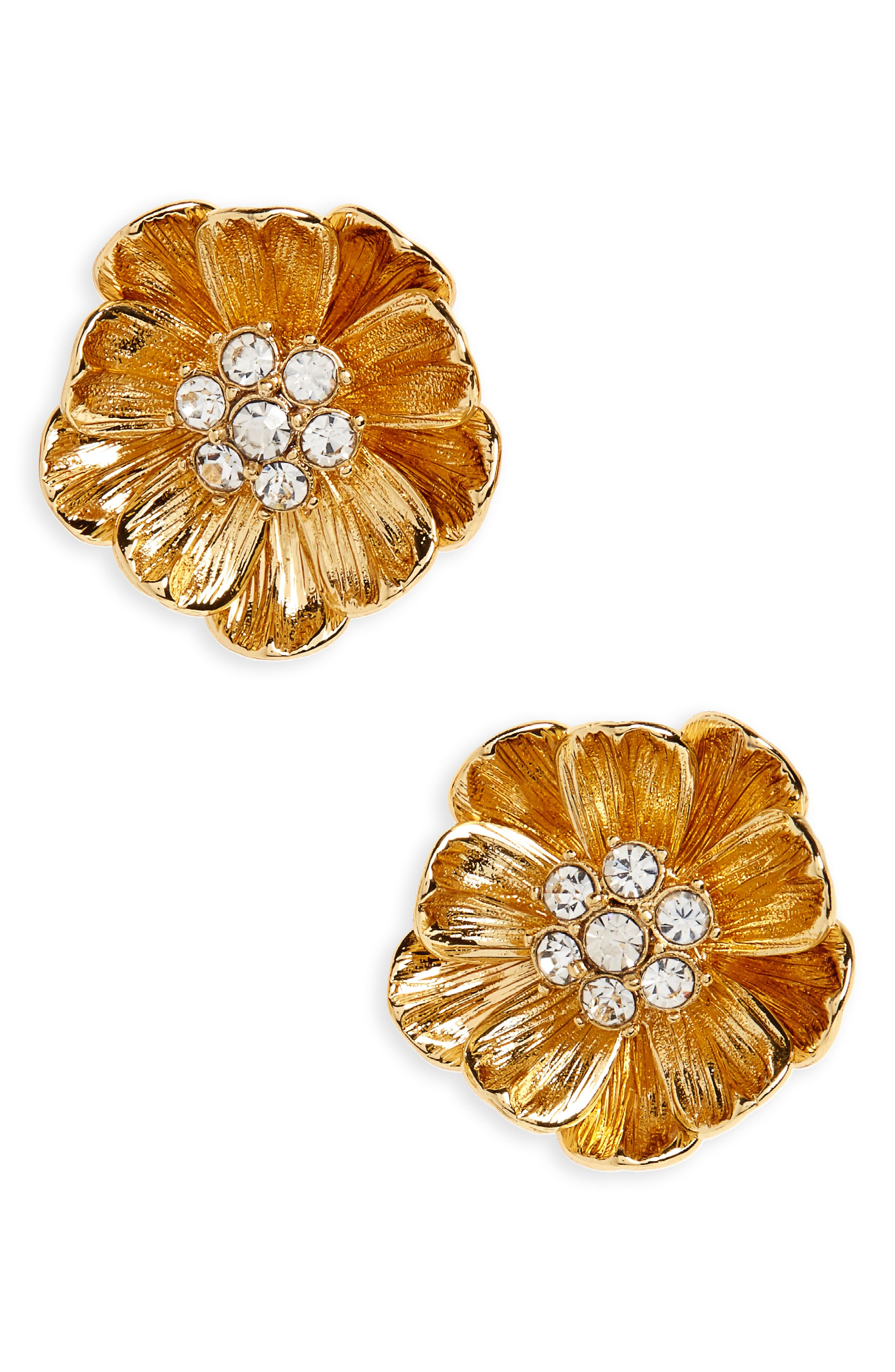 precious poppies stud earrings,                         Main,                         color, Gold