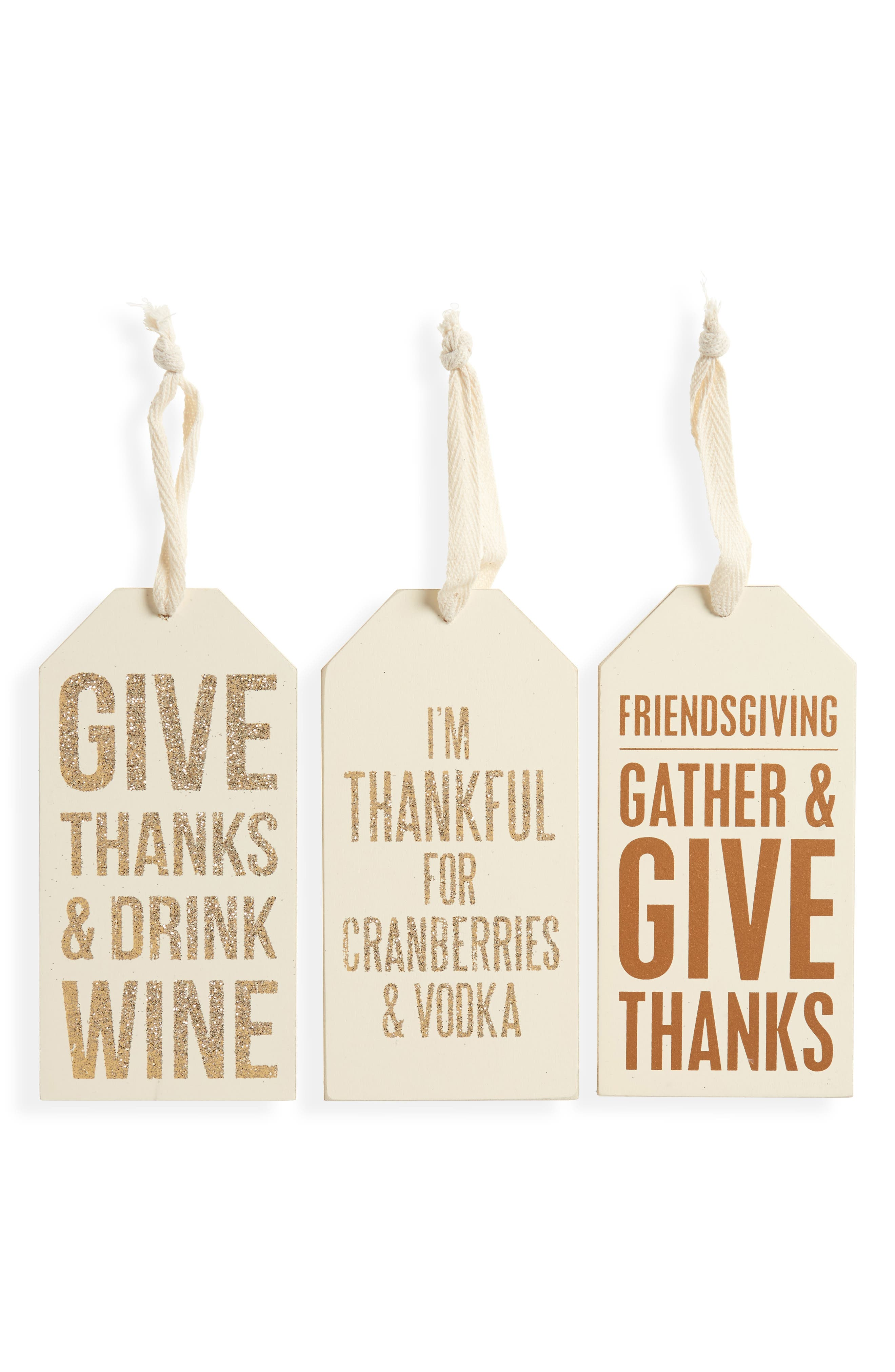 Set of 3 Thanksgiving Bottle Tags,                         Main,                         color, Gold