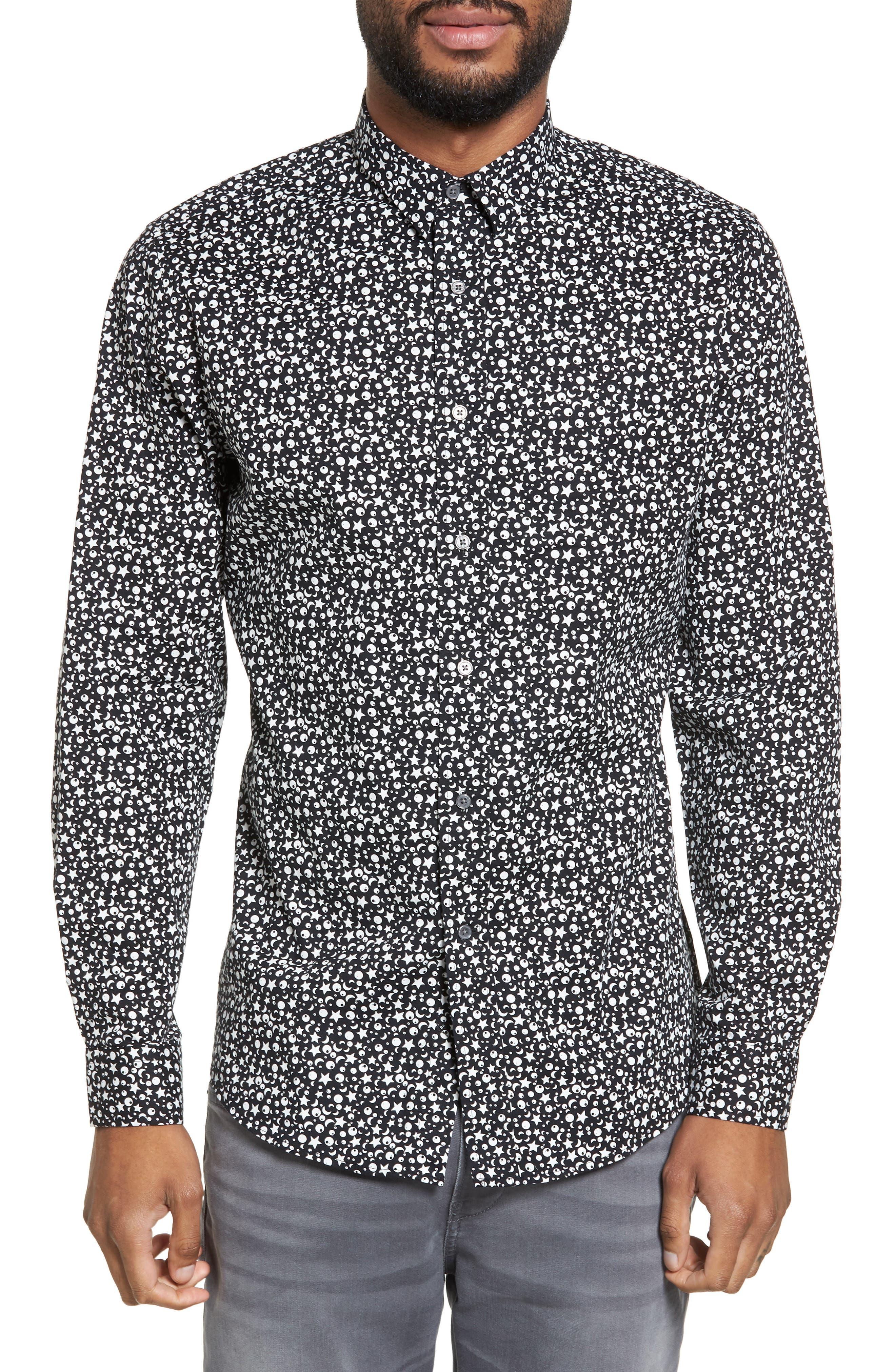 Trim Fit Star Print Sport Shirt,                             Main thumbnail 1, color,                             Black Star Print