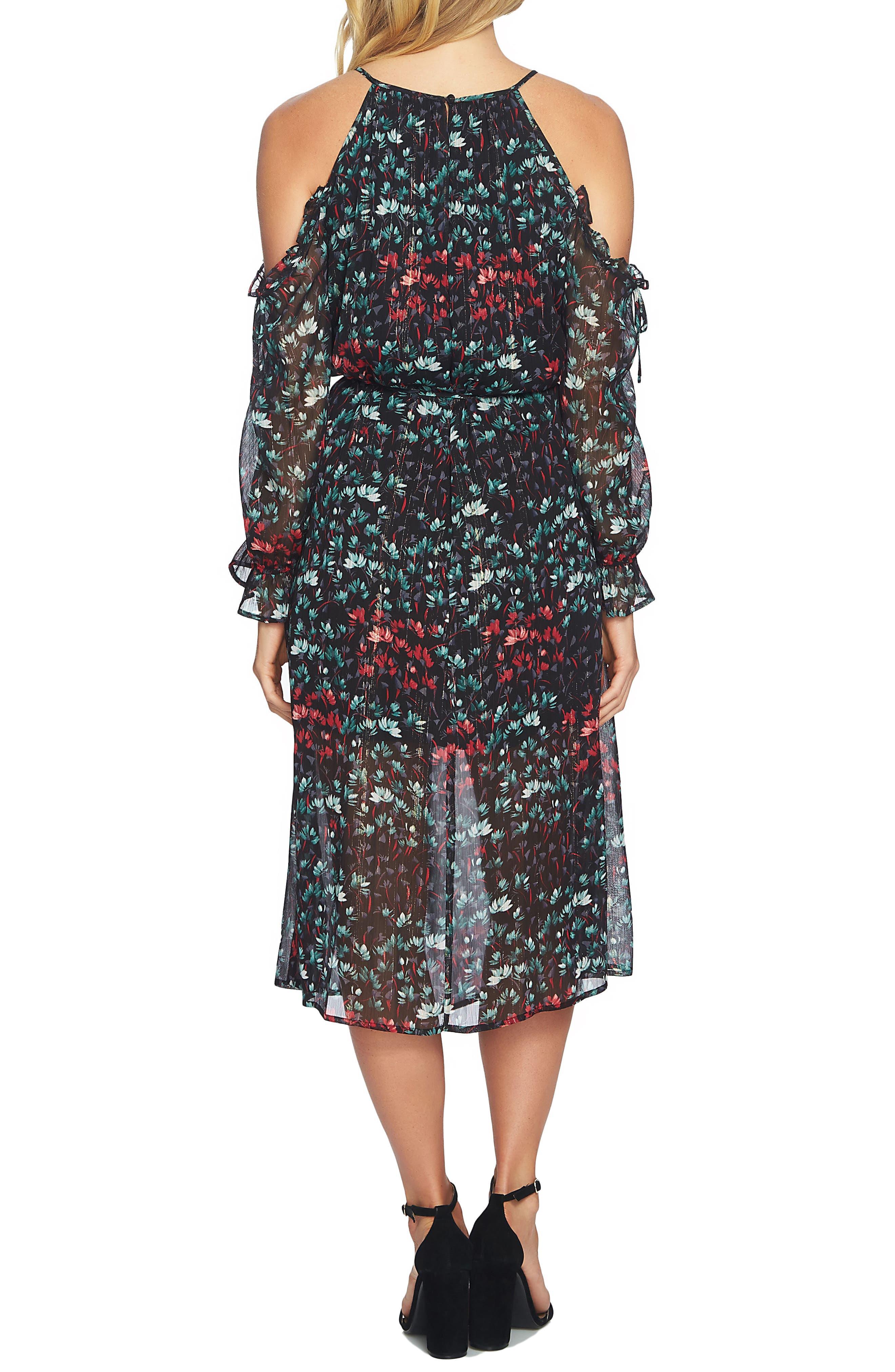Cold Shoulder Midi Dress,                             Alternate thumbnail 3, color,                             Rich Black