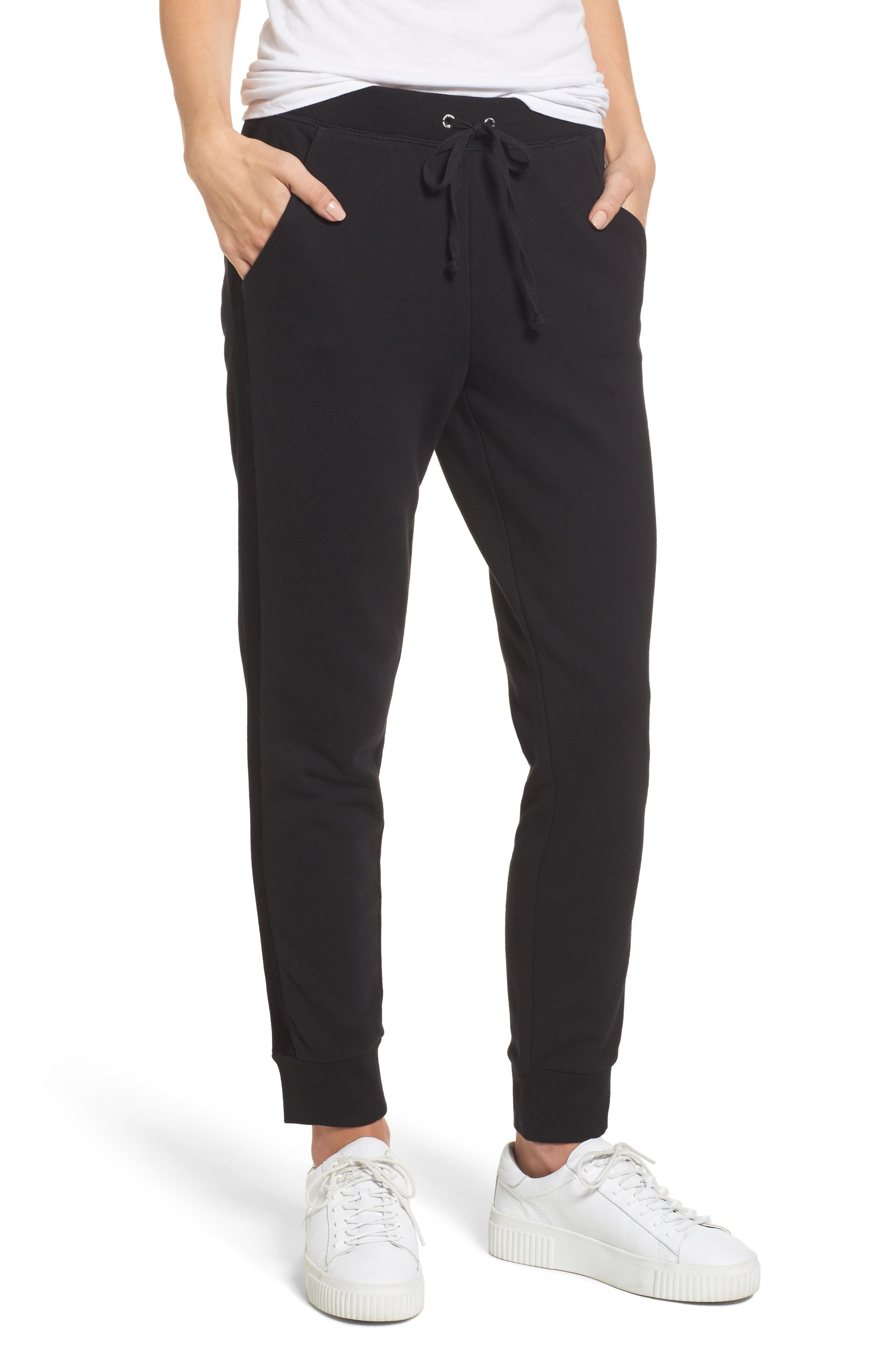 Elevate French Terry Track Pants,                             Main thumbnail 1, color,                             Pitch Black