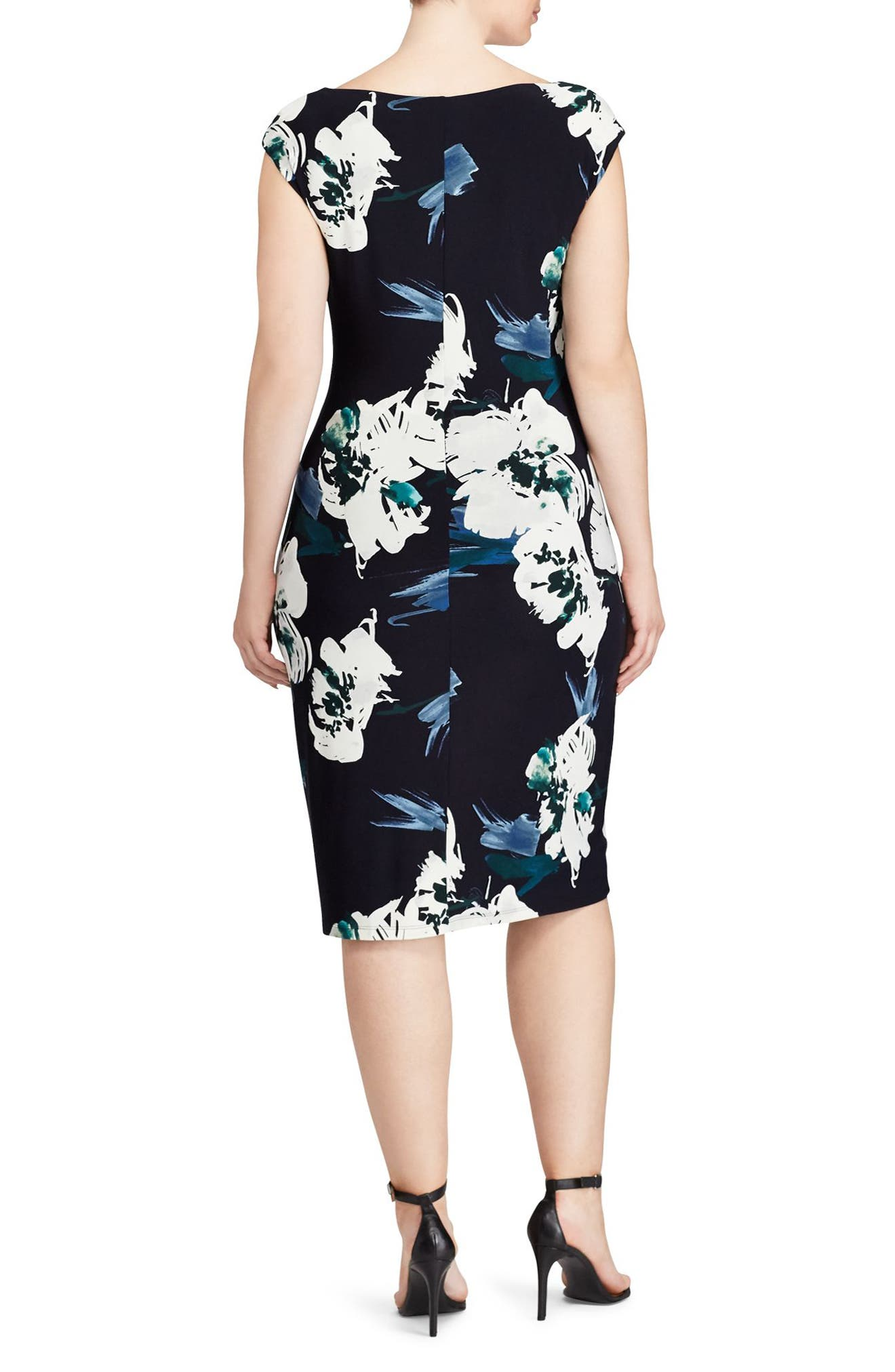 Floral Sheath Dress,                             Alternate thumbnail 2, color,                             Teal-Lighthouse Navy-Multi