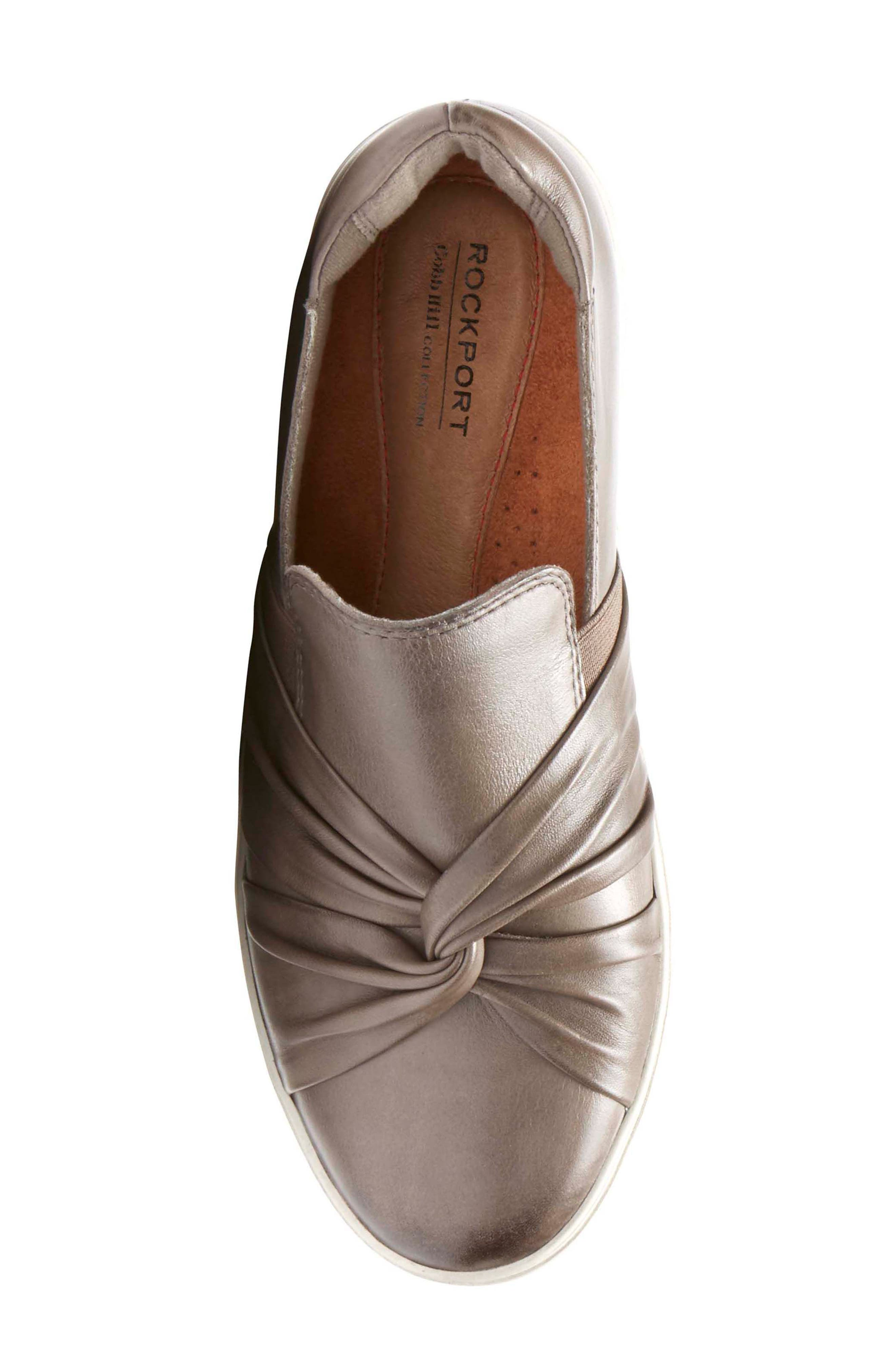 Willa Bow Slip-On,                             Alternate thumbnail 5, color,                             Grey Leather