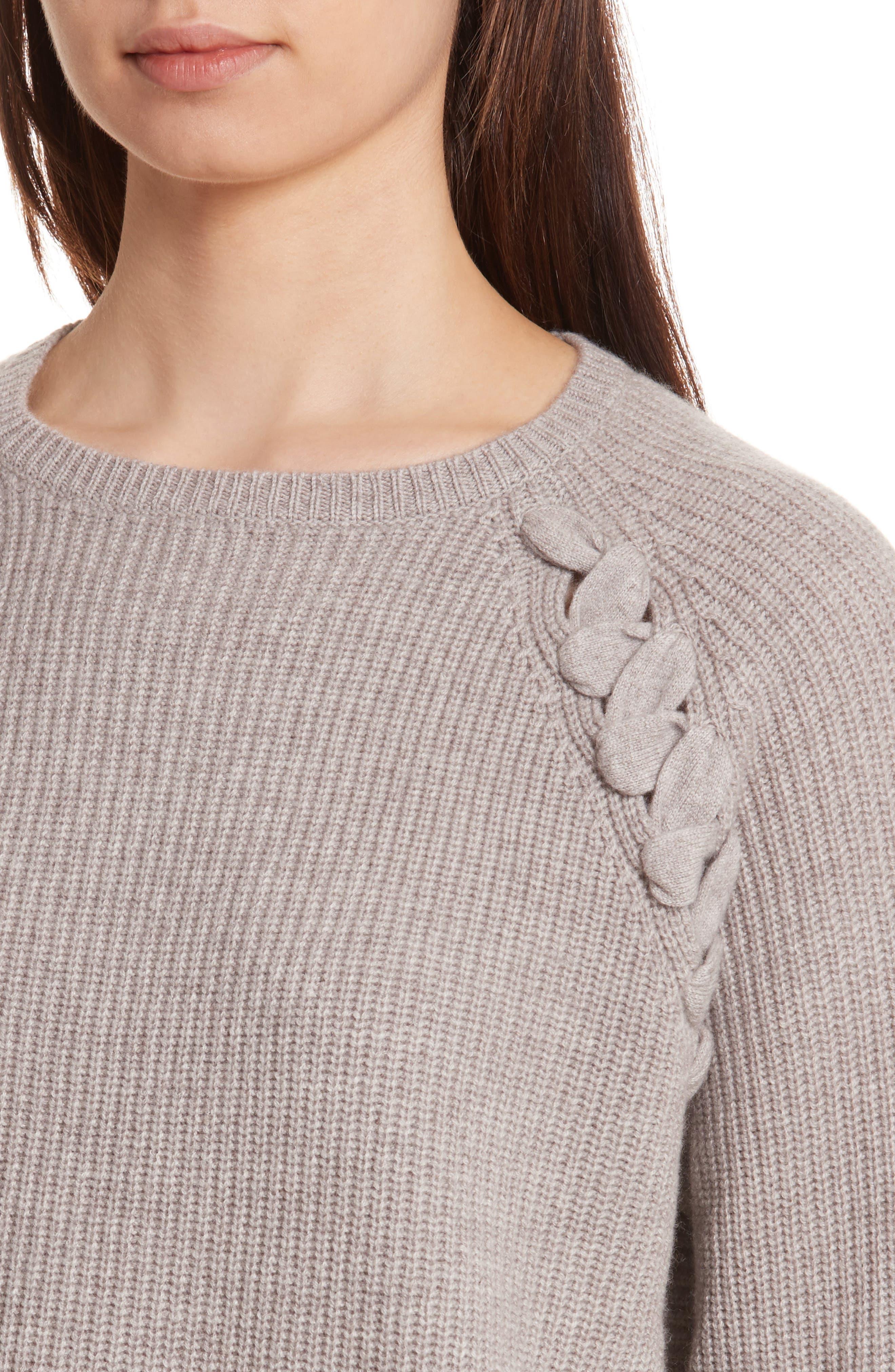 Alternate Image 4  - Allude Merino Wool & Cashmere Braid Detail Sweater