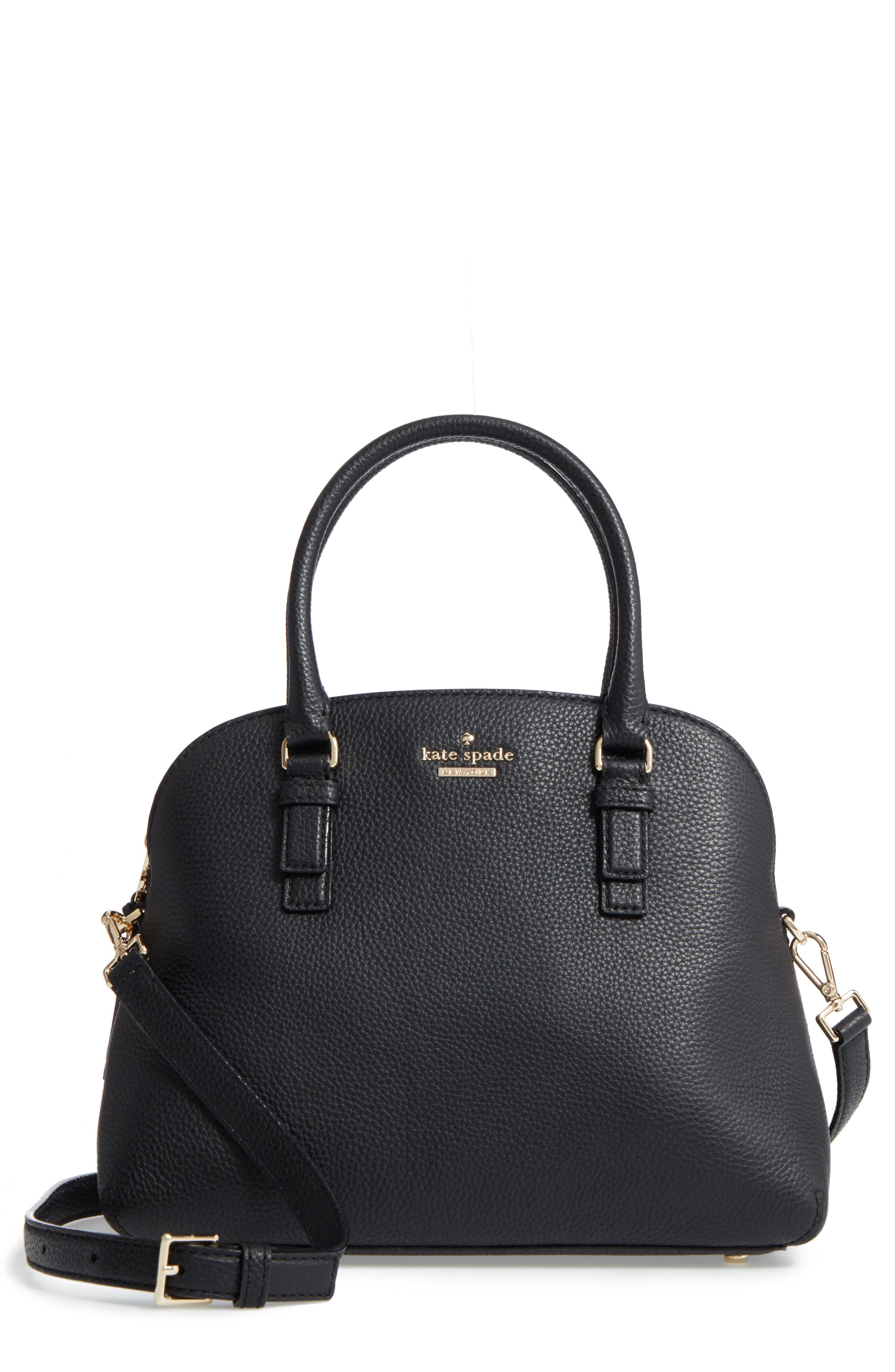 jackson street lottie leather satchel,                             Main thumbnail 1, color,                             Black