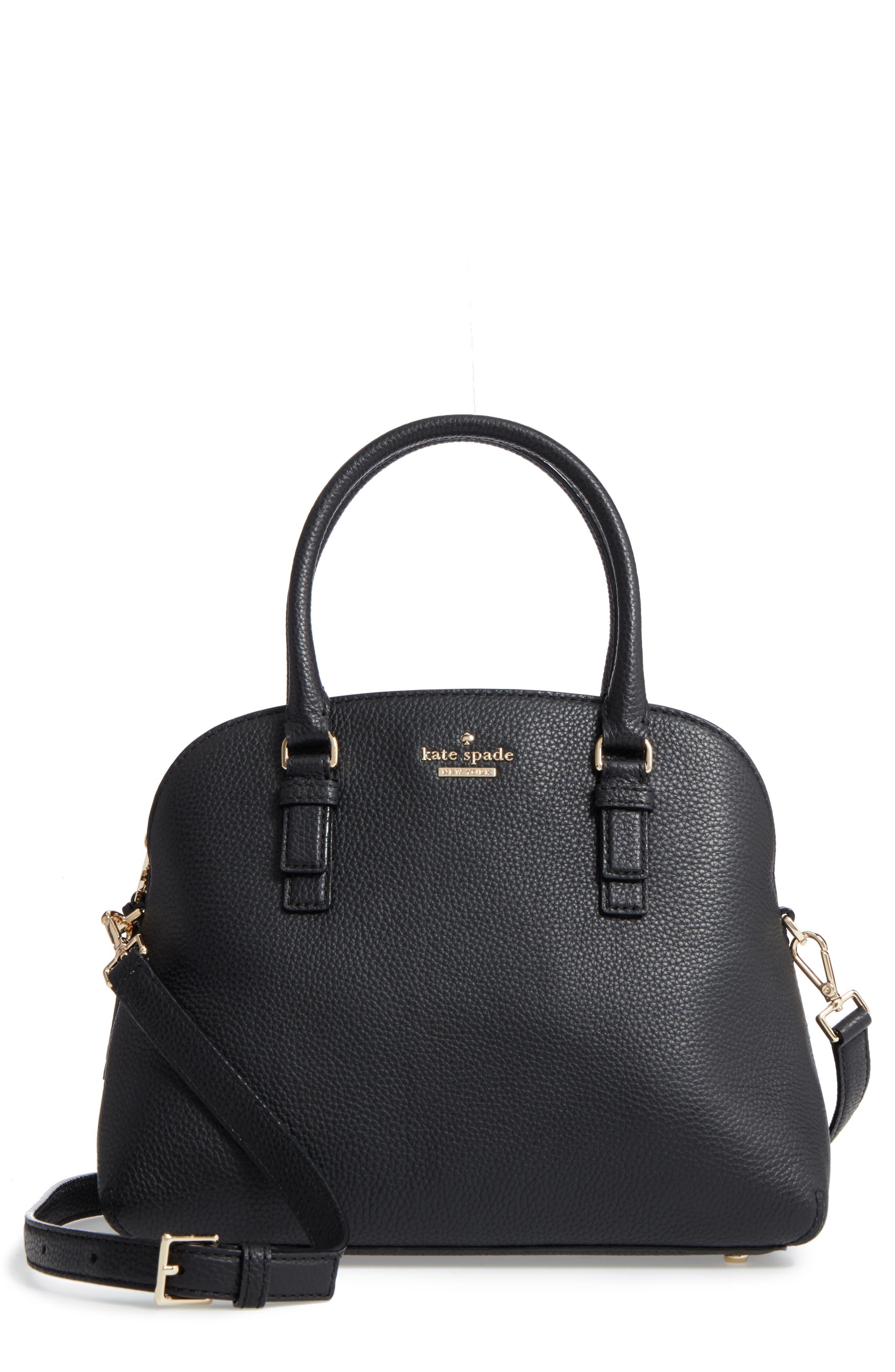 jackson street lottie leather satchel,                         Main,                         color, Black