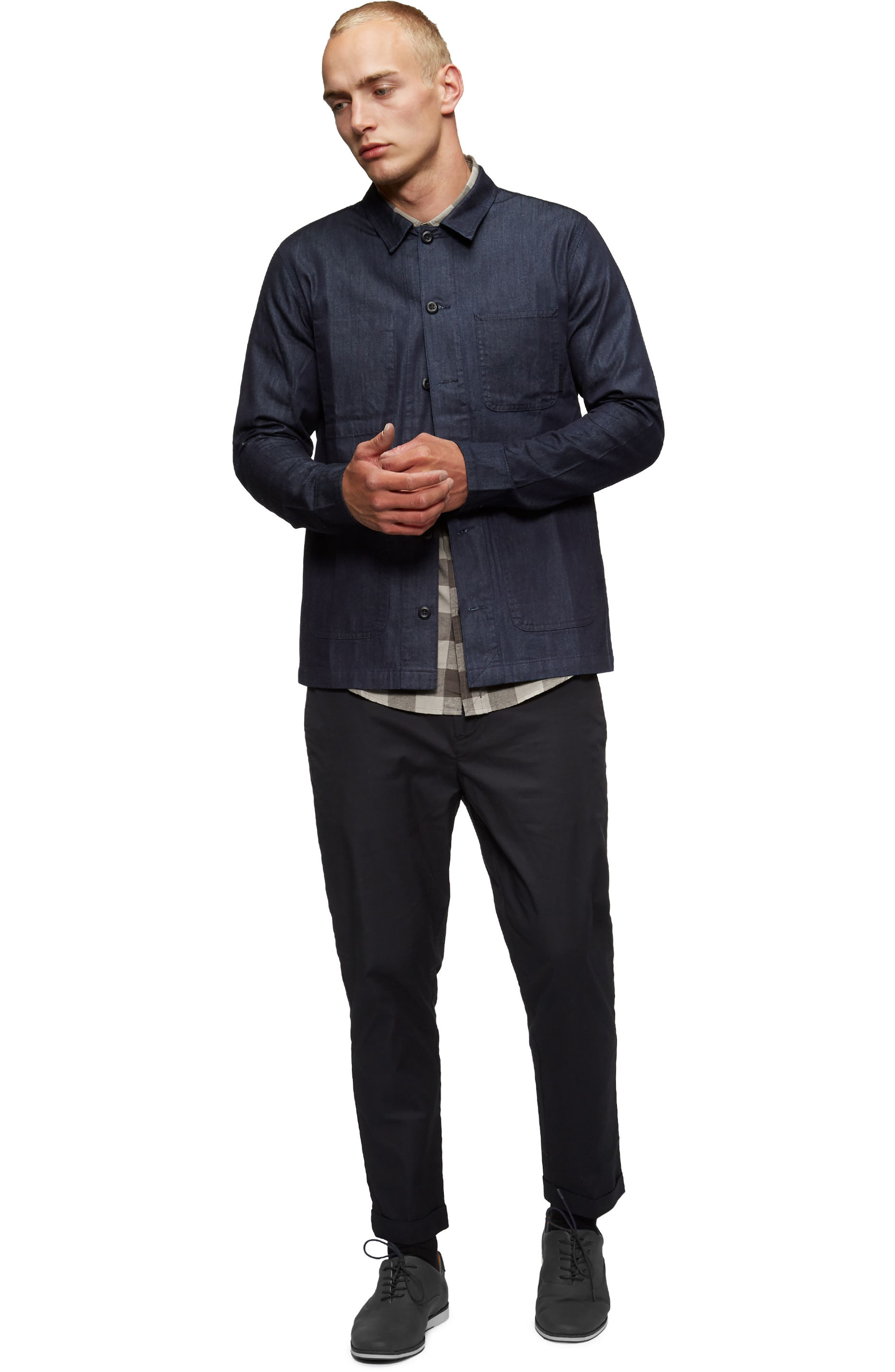 Cohen Long-Sleeve Shirt,                             Alternate thumbnail 4, color,                             Shadow Blue/ Olive