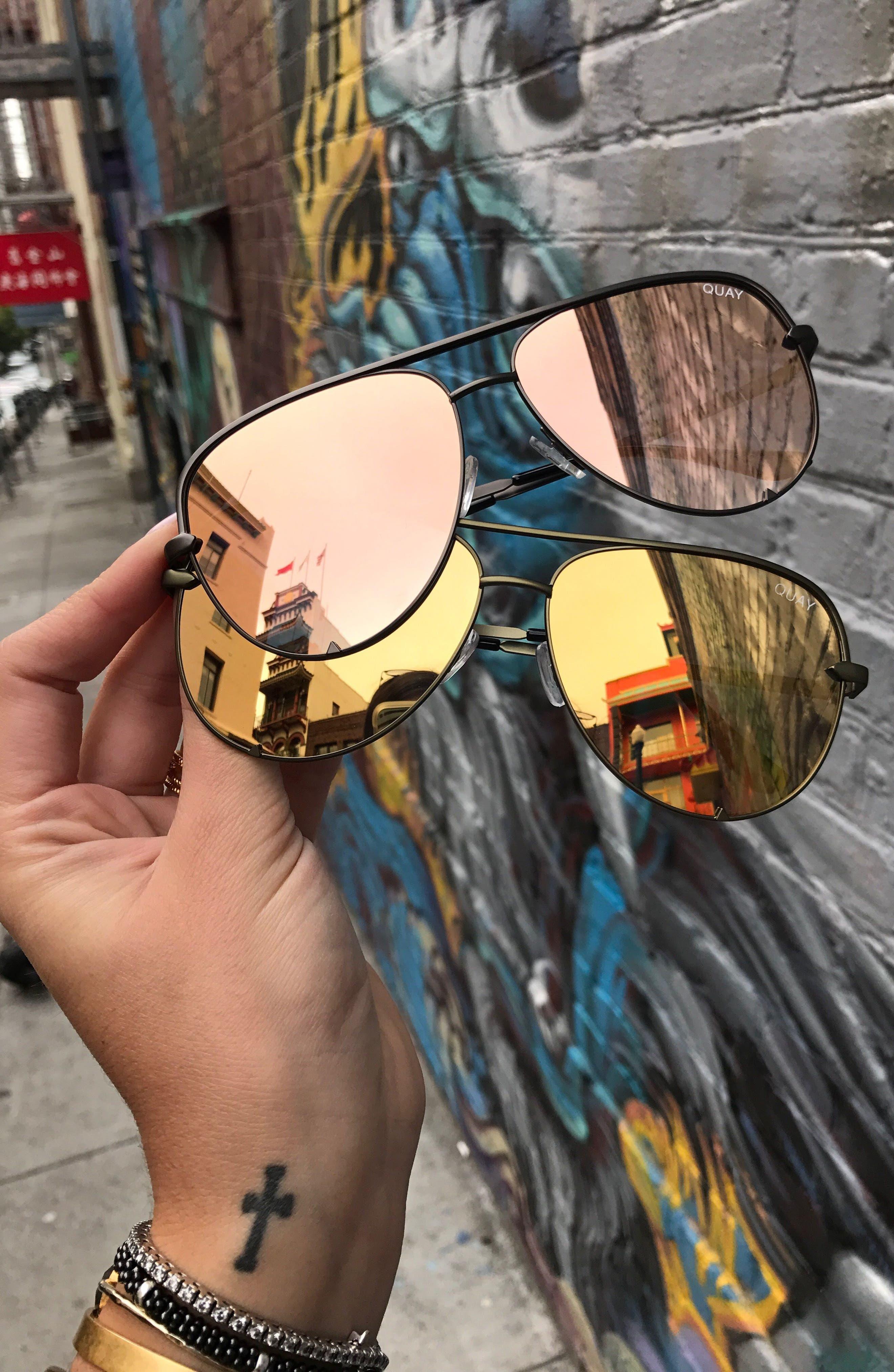 x Desi Perkins High Key 60mm Aviator Sunglasses,                             Alternate thumbnail 6, color,                             Green/ Gold