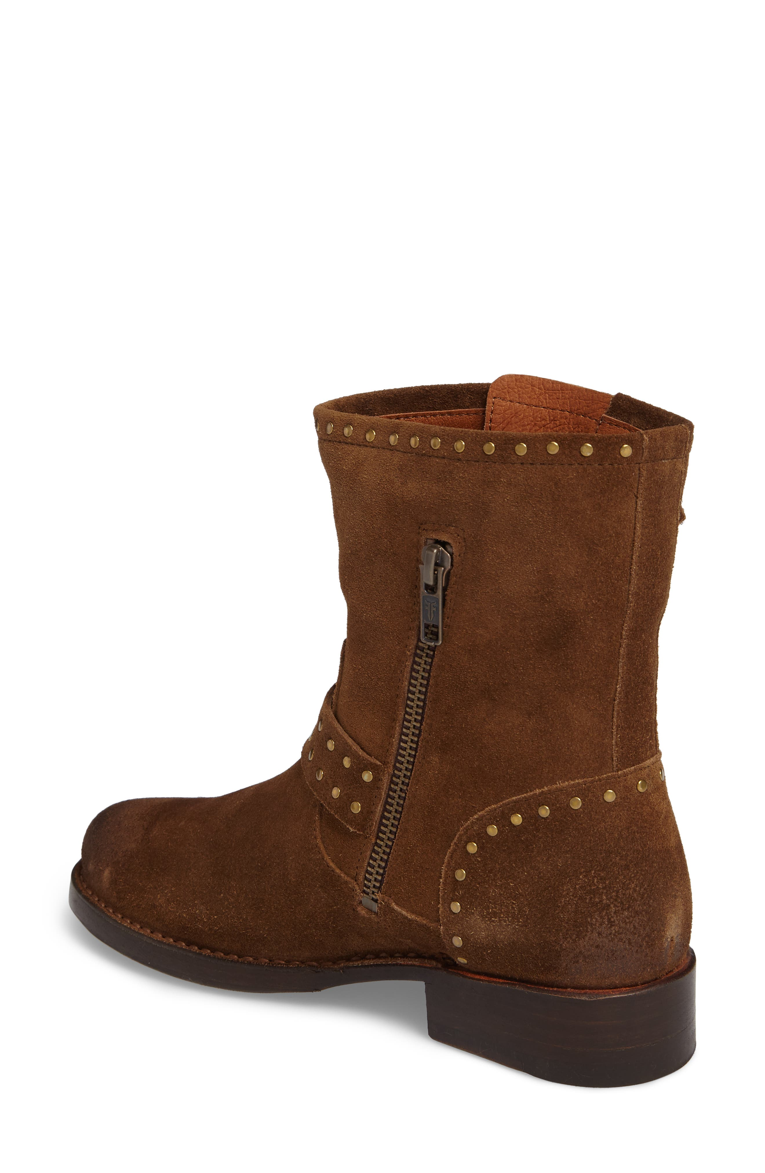 Vicky Stud Engineer Boot,                             Alternate thumbnail 2, color,                             Chestnut Suede