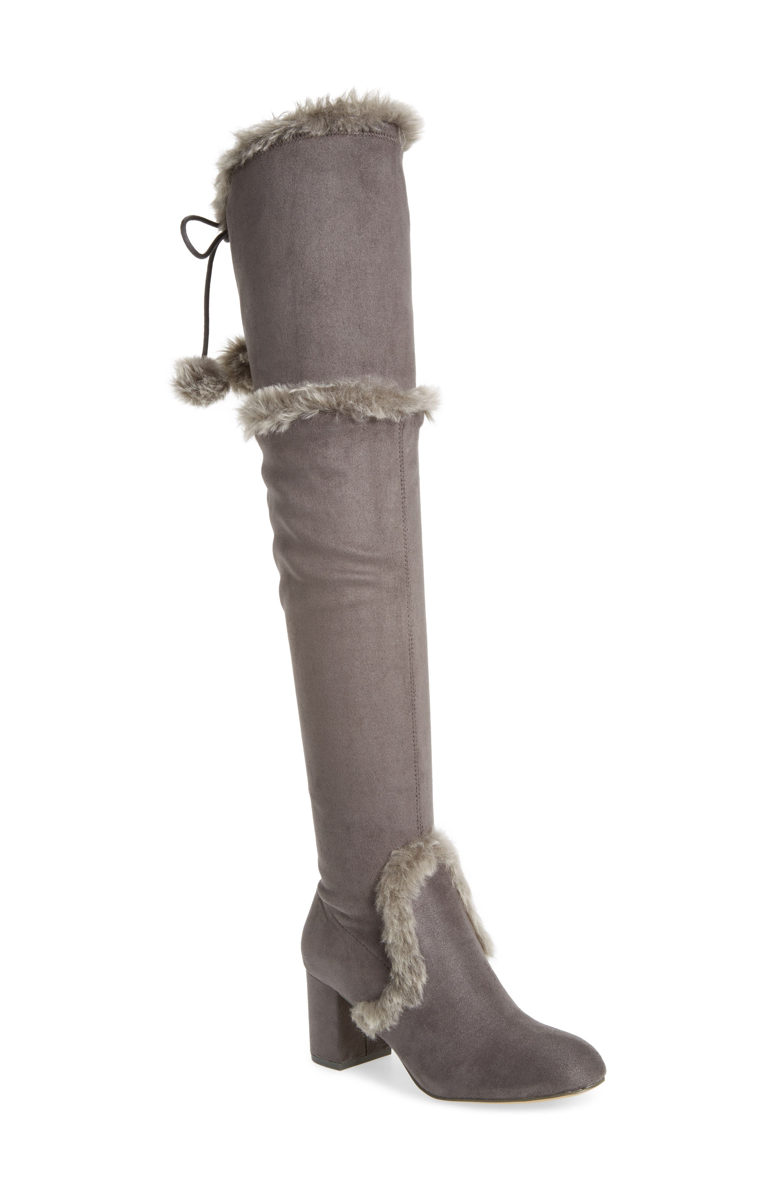 Odom Over the Knee Boot,                             Main thumbnail 1, color,                             Slate Faux Suede