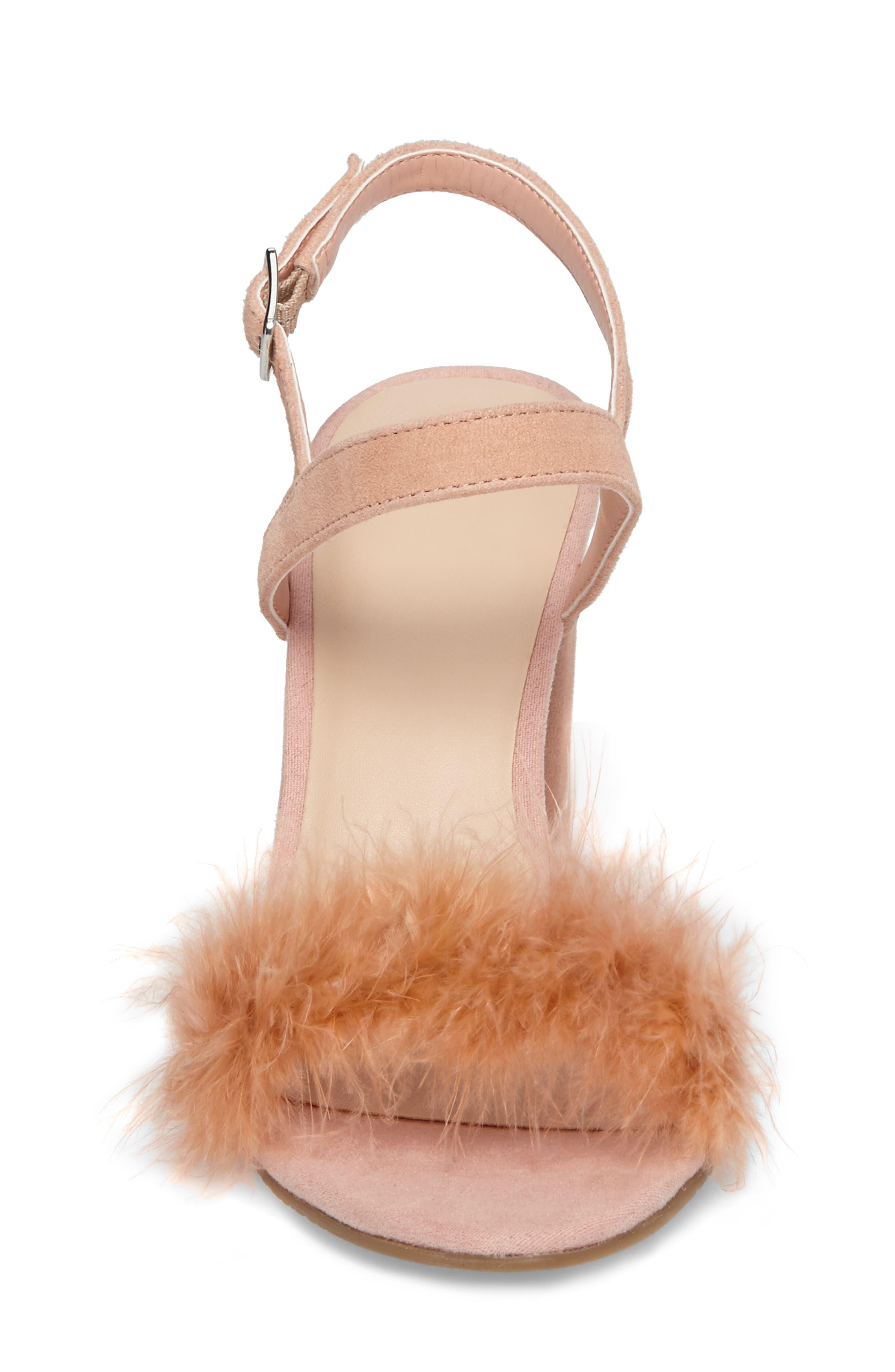 Lula Block Heel Slingback Sandal,                             Alternate thumbnail 4, color,                             Blush Feathers
