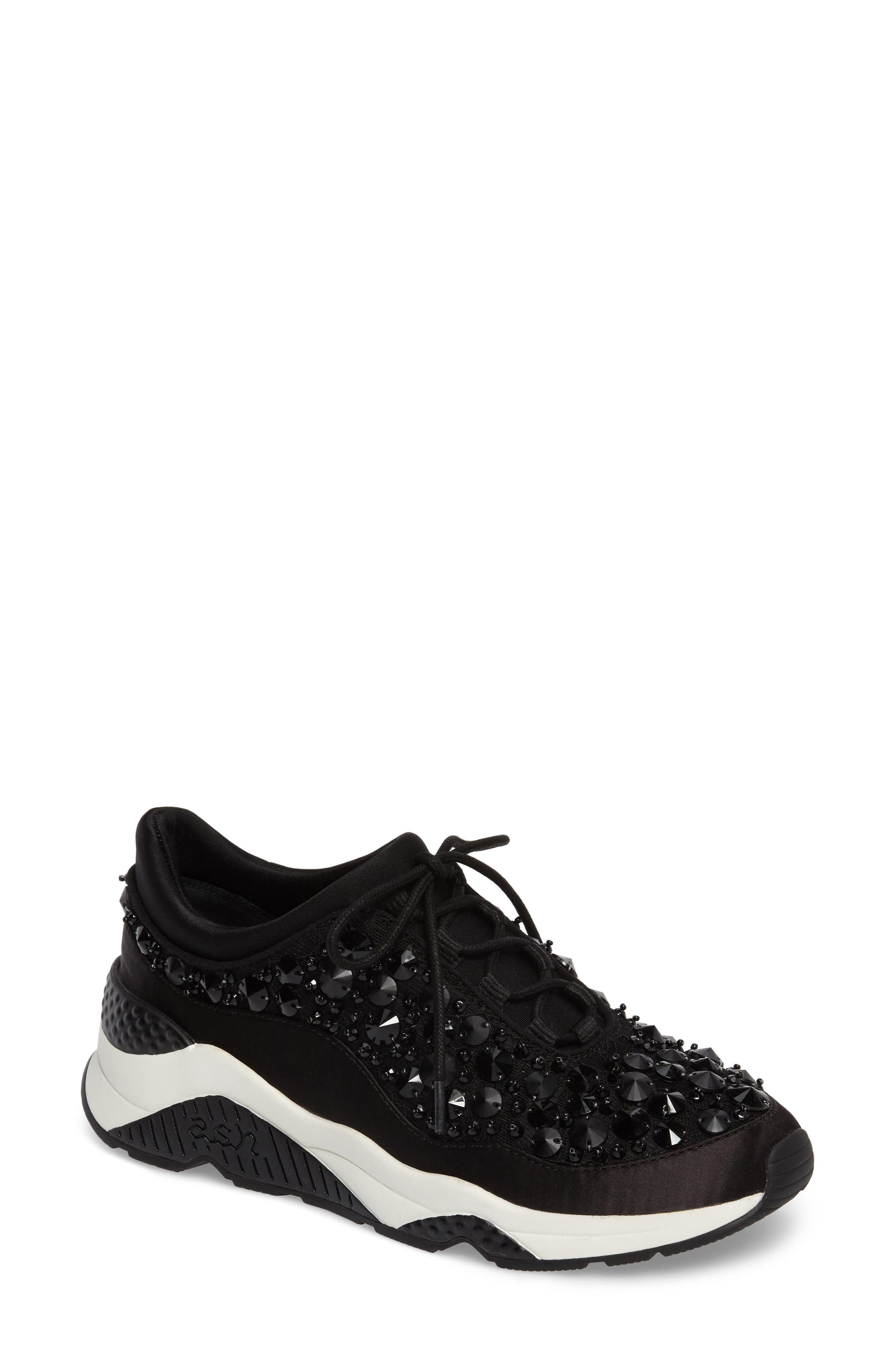 Muse Beads Sneaker,                             Main thumbnail 1, color,                             Black/ Black Fabric