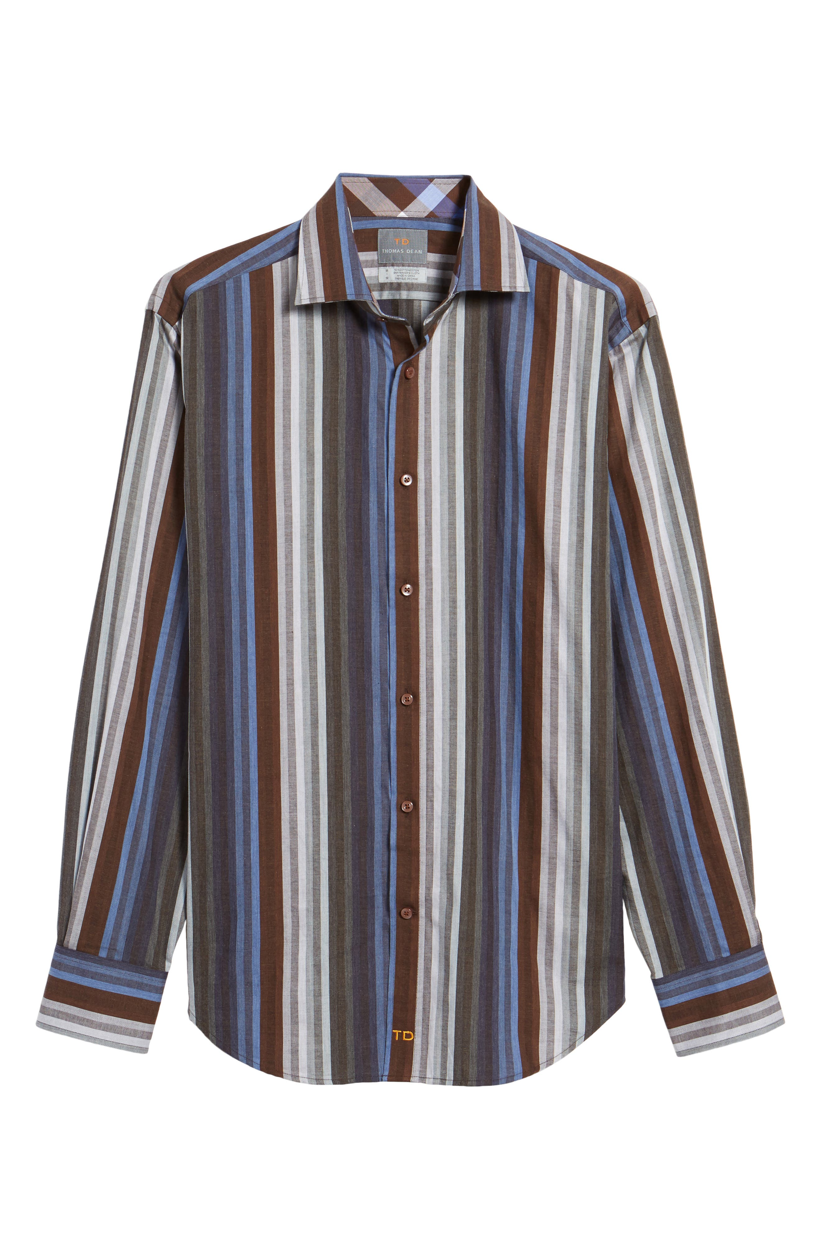 Alternate Image 6  - Thomas Dean Regular Fit Multicolor Stripe Herringbone Sport Shirt