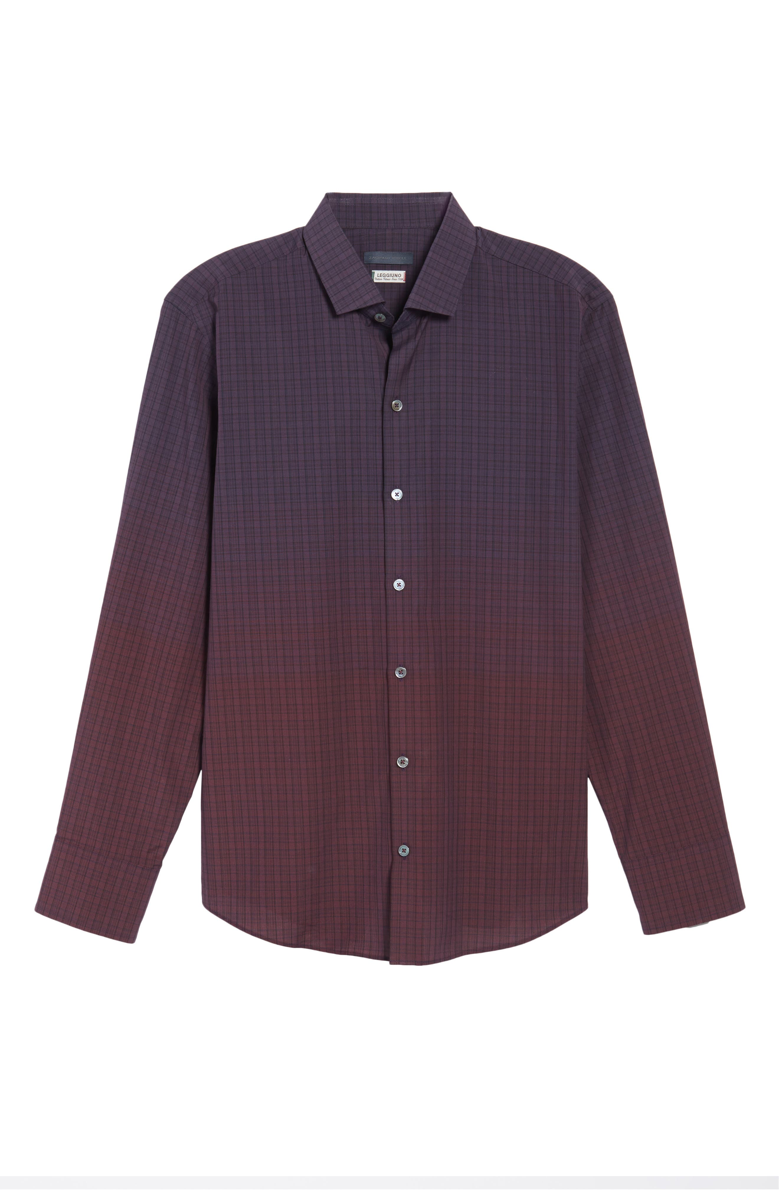 Wein Slim Fit Check Sport Shirt,                             Alternate thumbnail 6, color,                             Wine