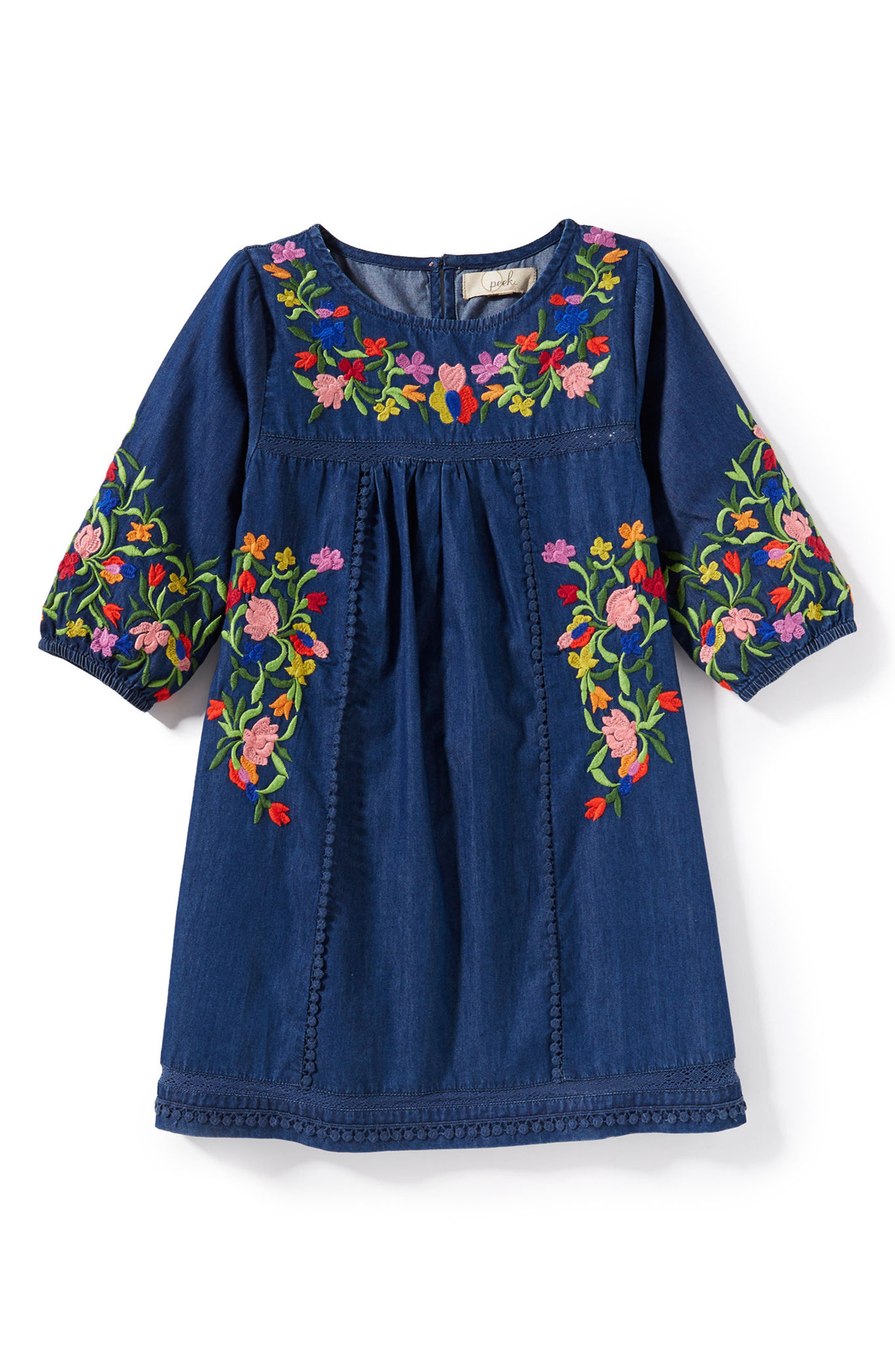 Peek Marin Embroidered Peasant Dress (Toddler Girls, Little Girls & Big Girls)