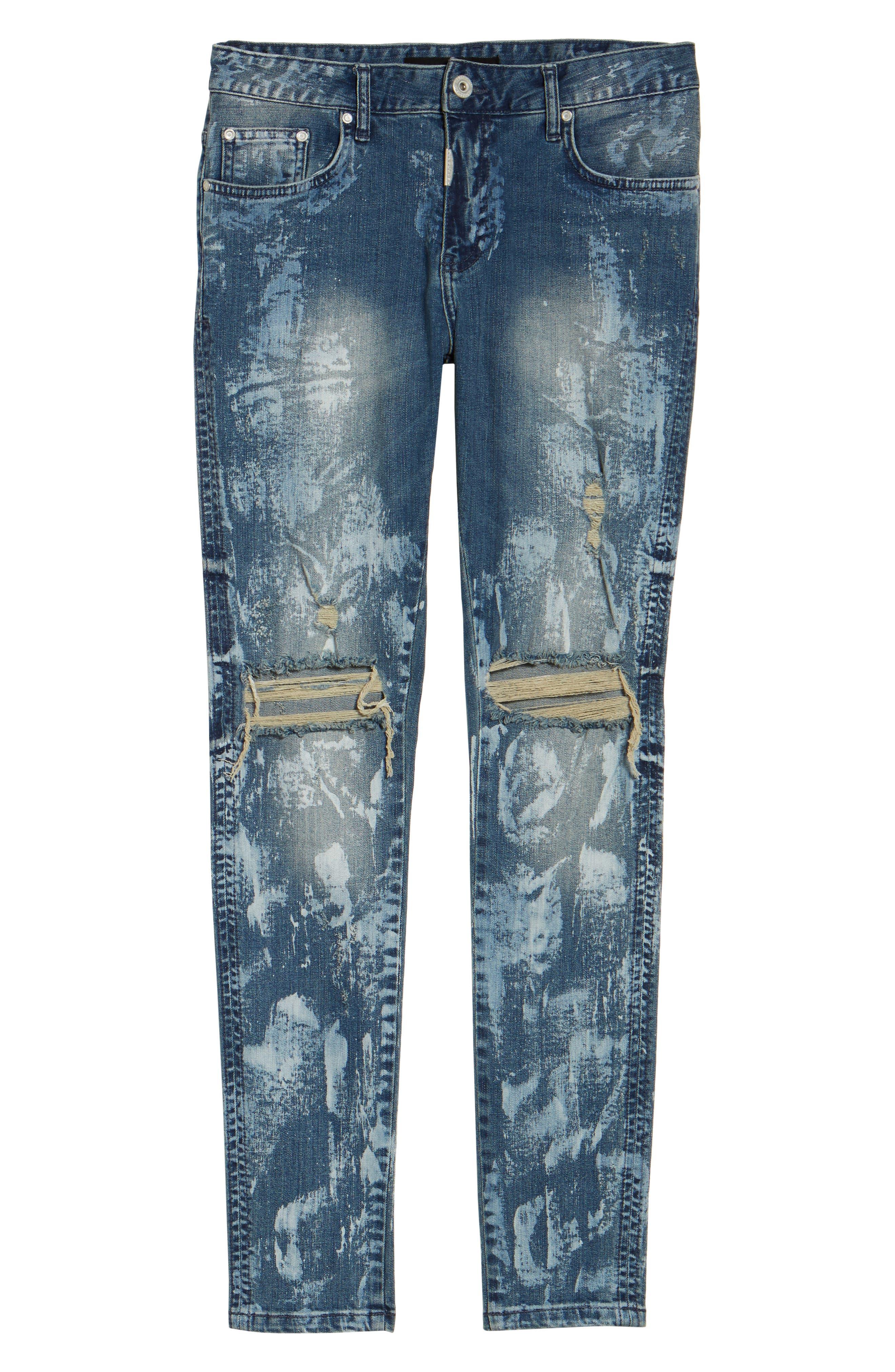 Slim Fit Destroyed Jeans,                             Alternate thumbnail 5, color,                             Heavy Bleach
