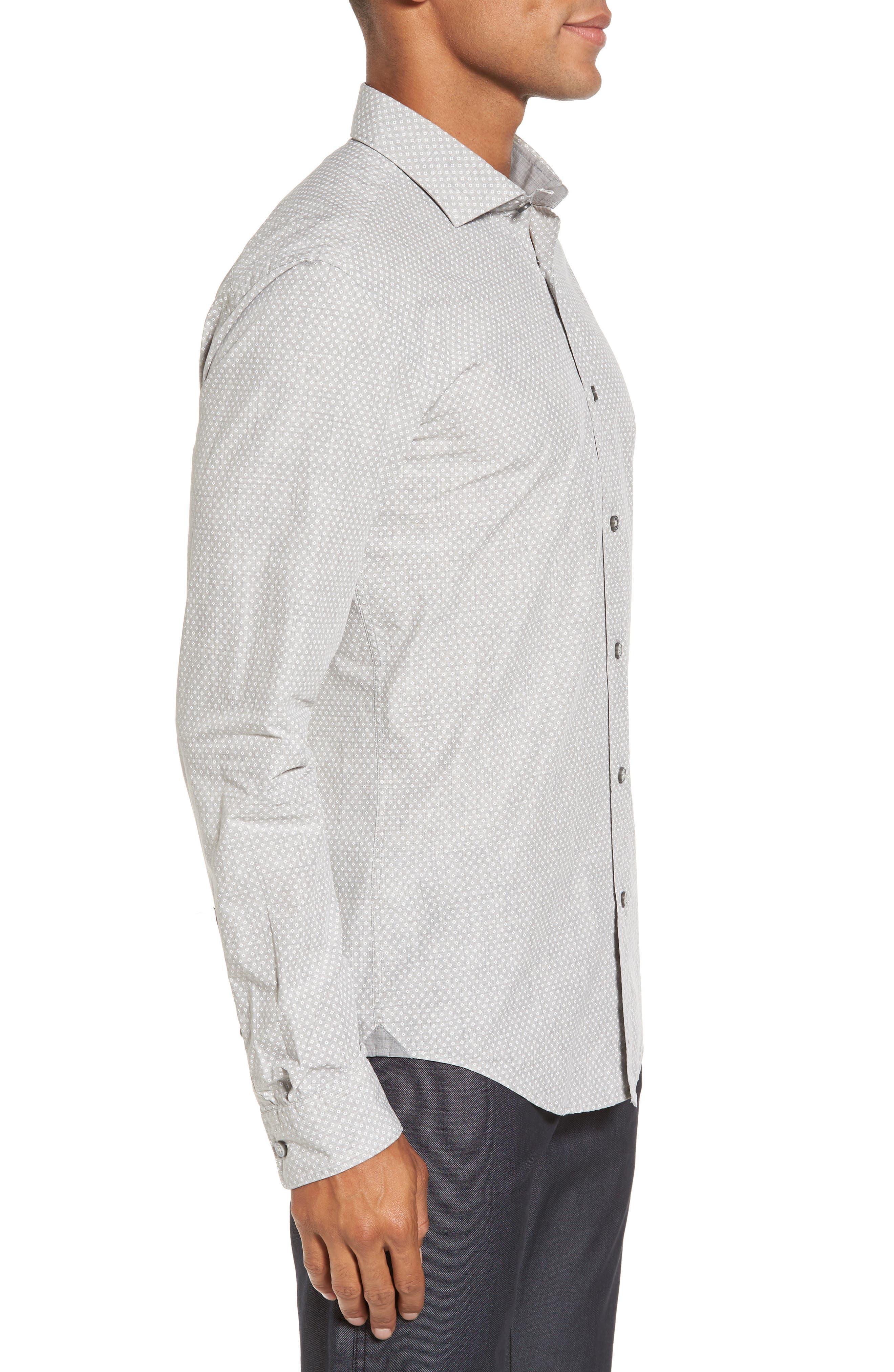 Ridley Slim Fit Micro Diamond Sport Shirt,                             Alternate thumbnail 3, color,                             Grey