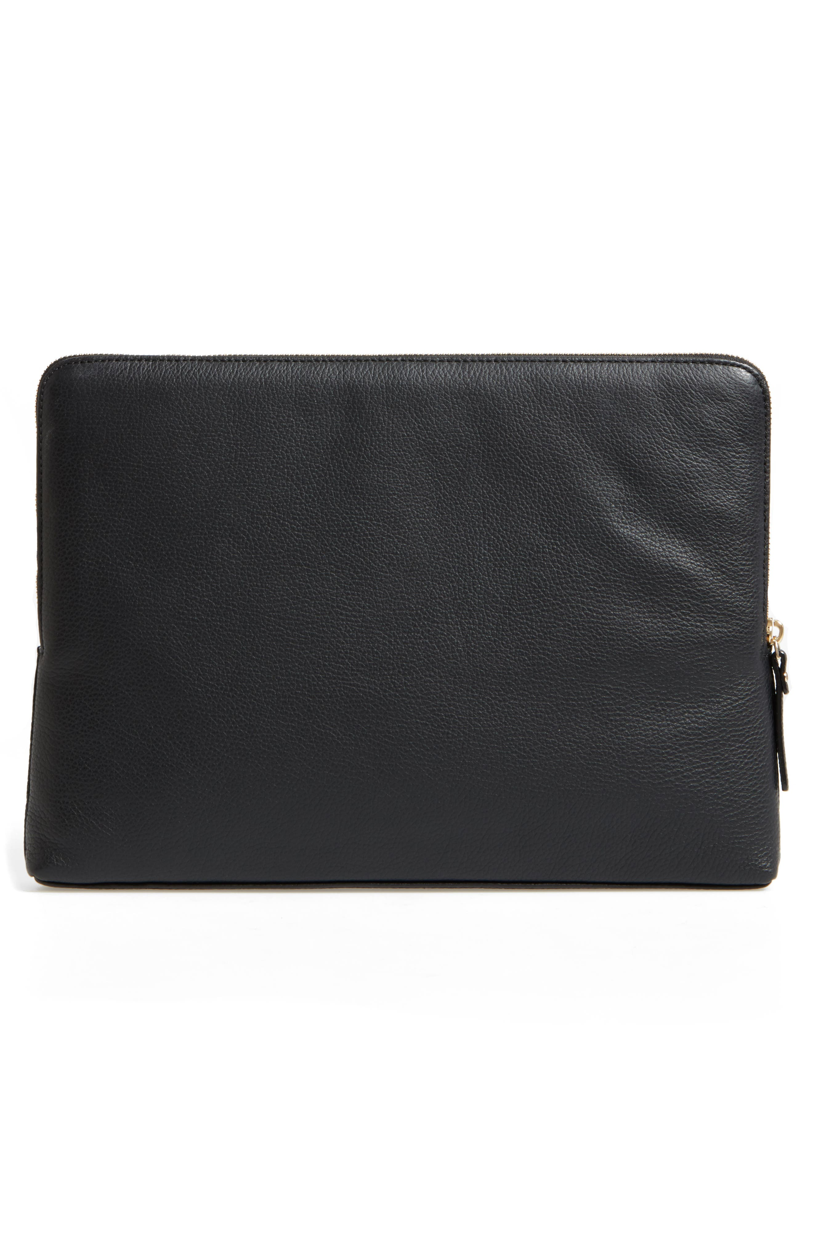 13-inch leather laptop sleeve,                             Alternate thumbnail 2, color,                             Black