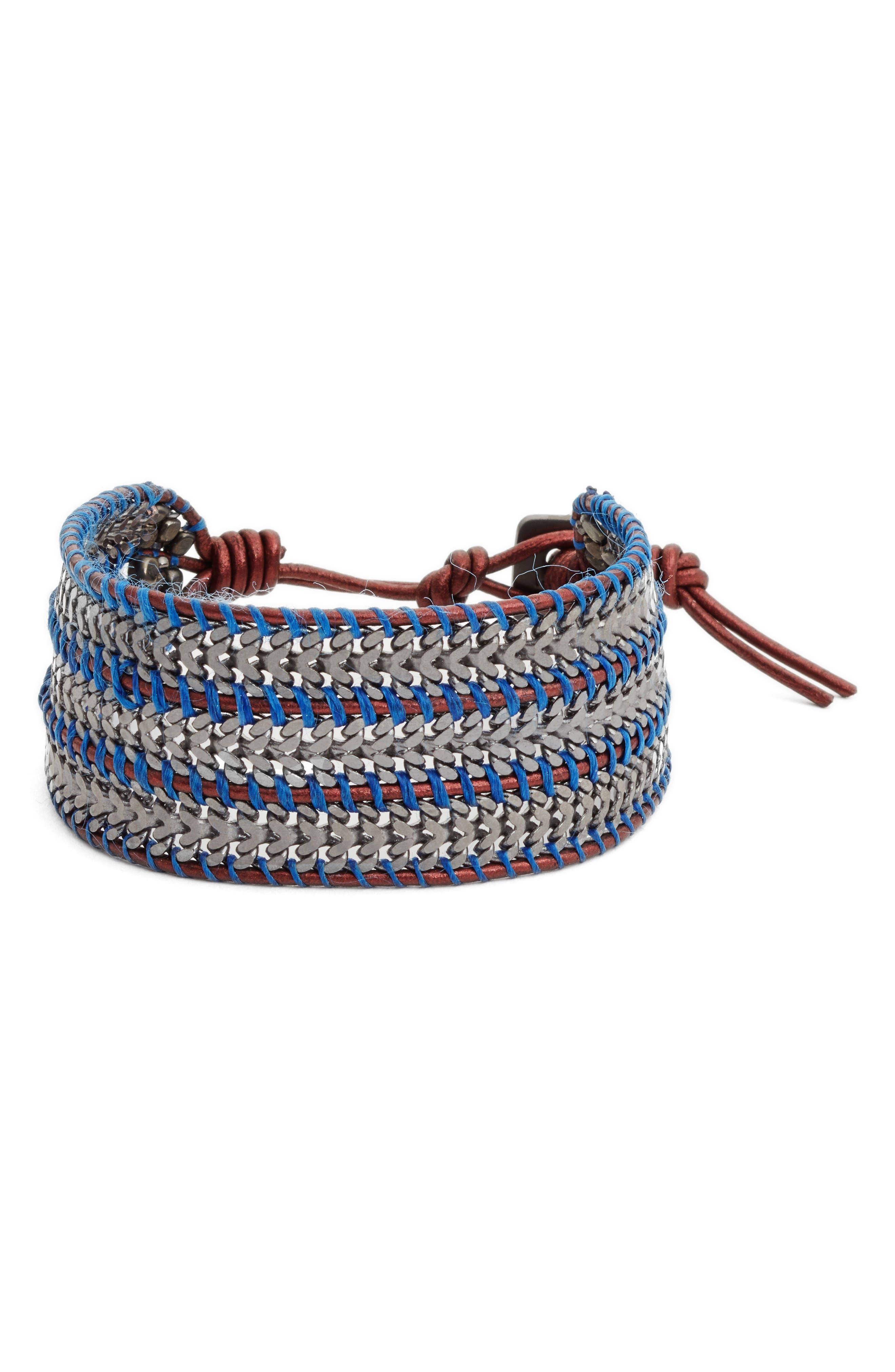 Trush Chain & Leather Bracelet,                             Main thumbnail 1, color,                             Gunmetal
