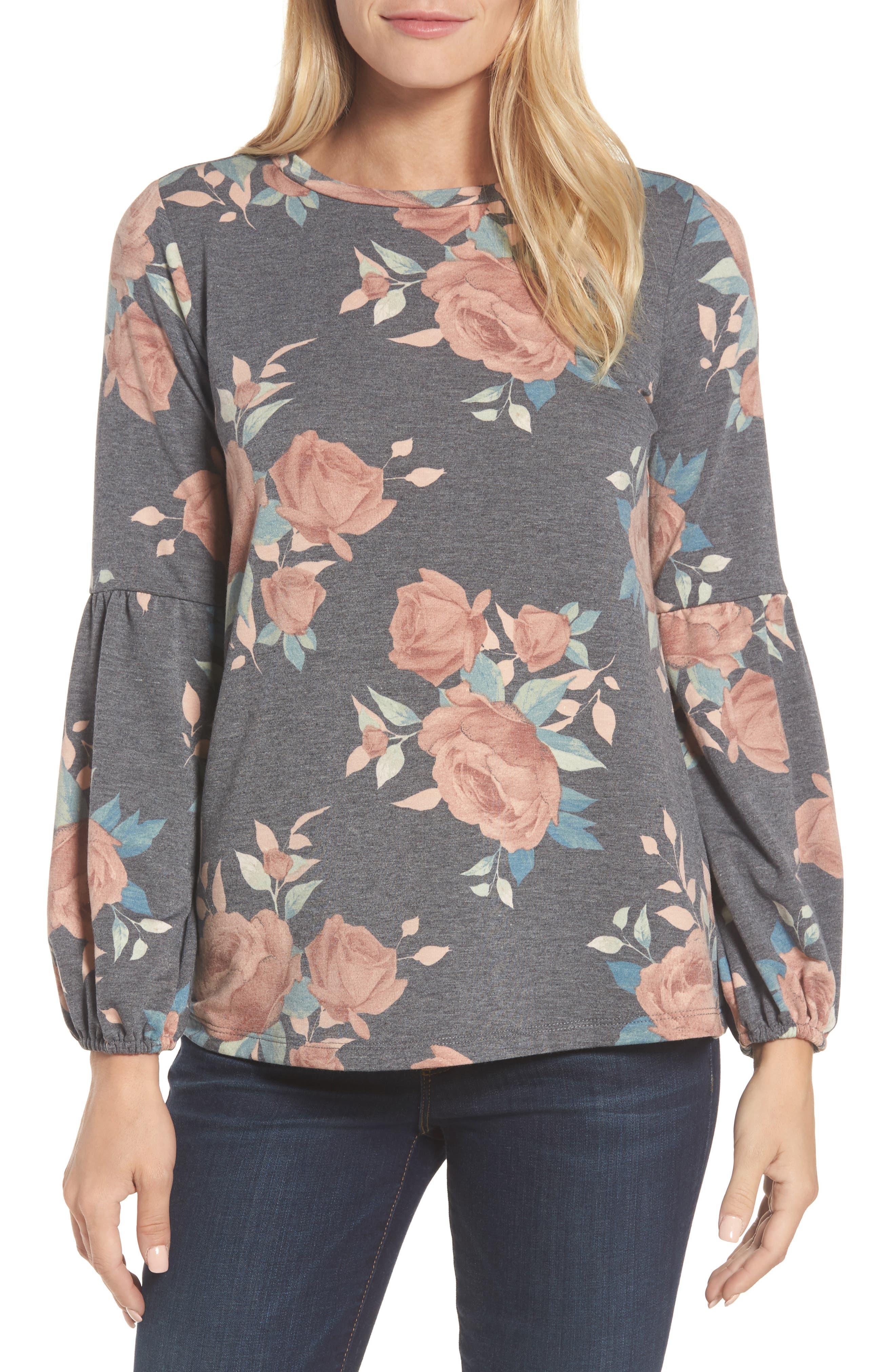 Floral Print Balloon Sleeve Sweatshirt,                         Main,                         color, Black/ Blush
