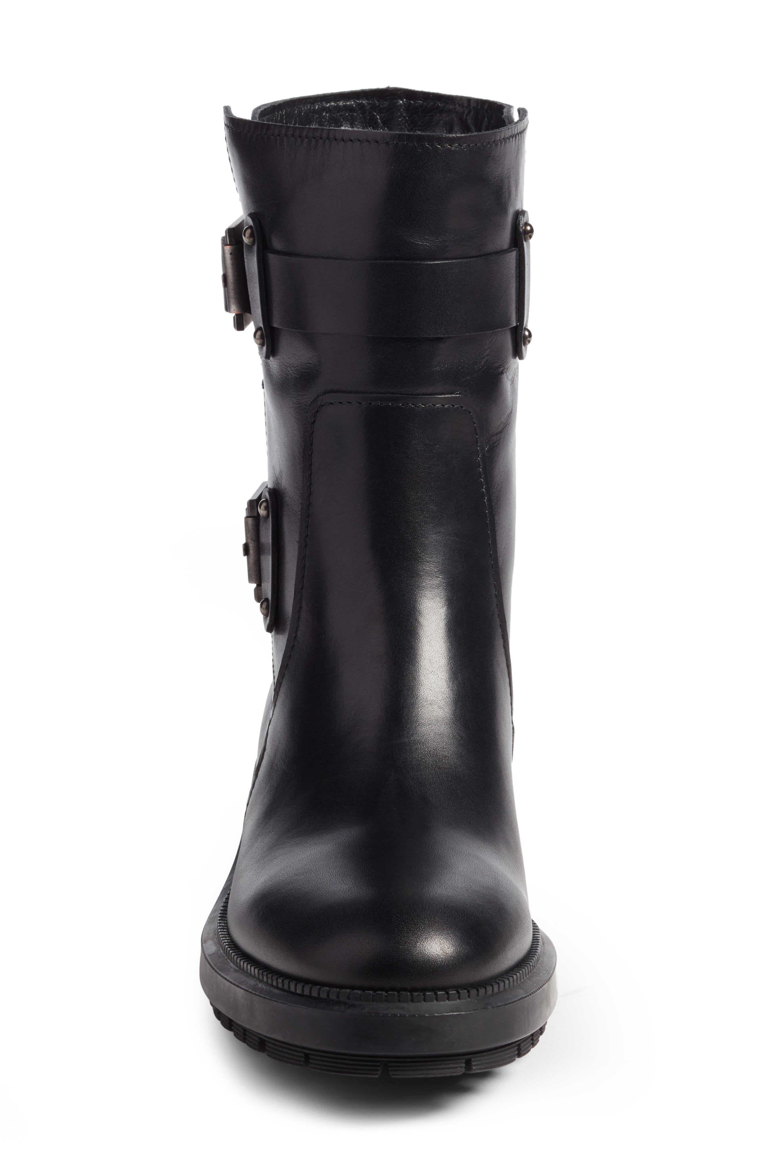 Leonie Weatherproof Leather Boot,                             Alternate thumbnail 5, color,                             Black Calf