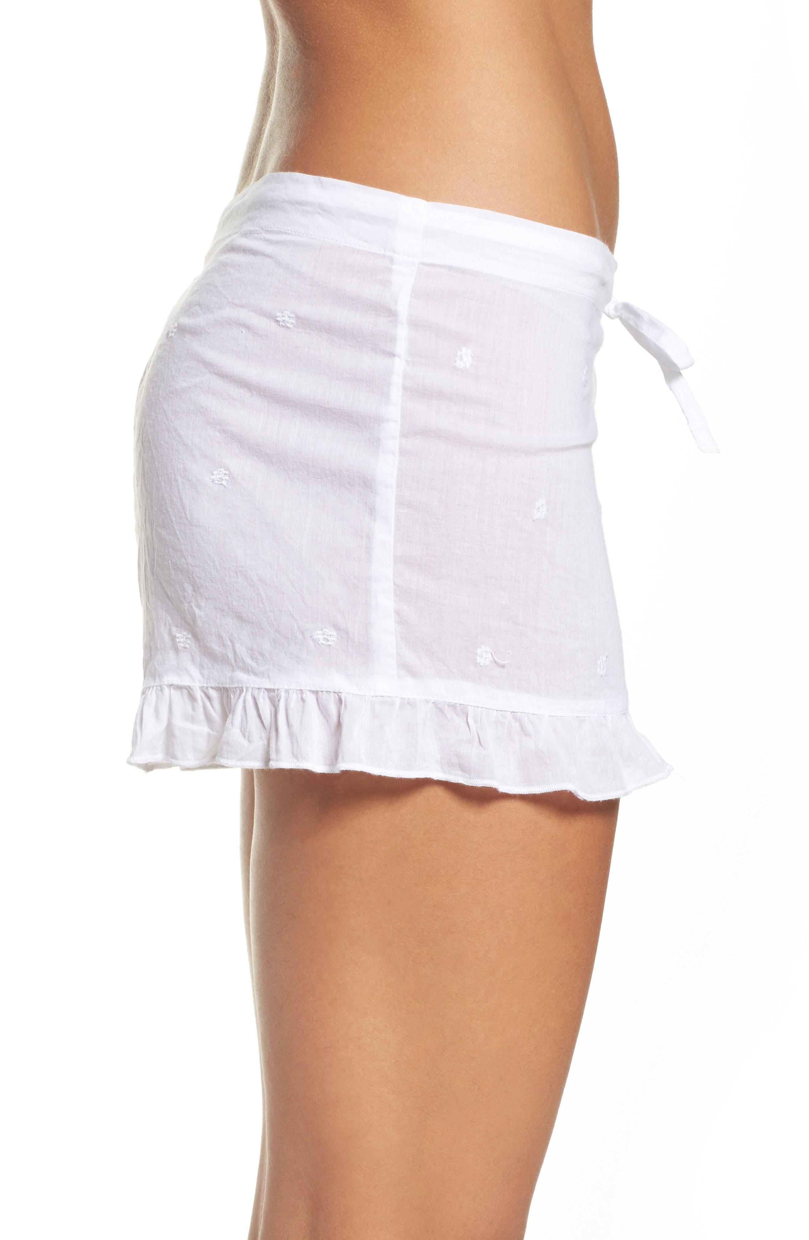 Ruffle Sleep Shorts,                             Alternate thumbnail 3, color,                             White