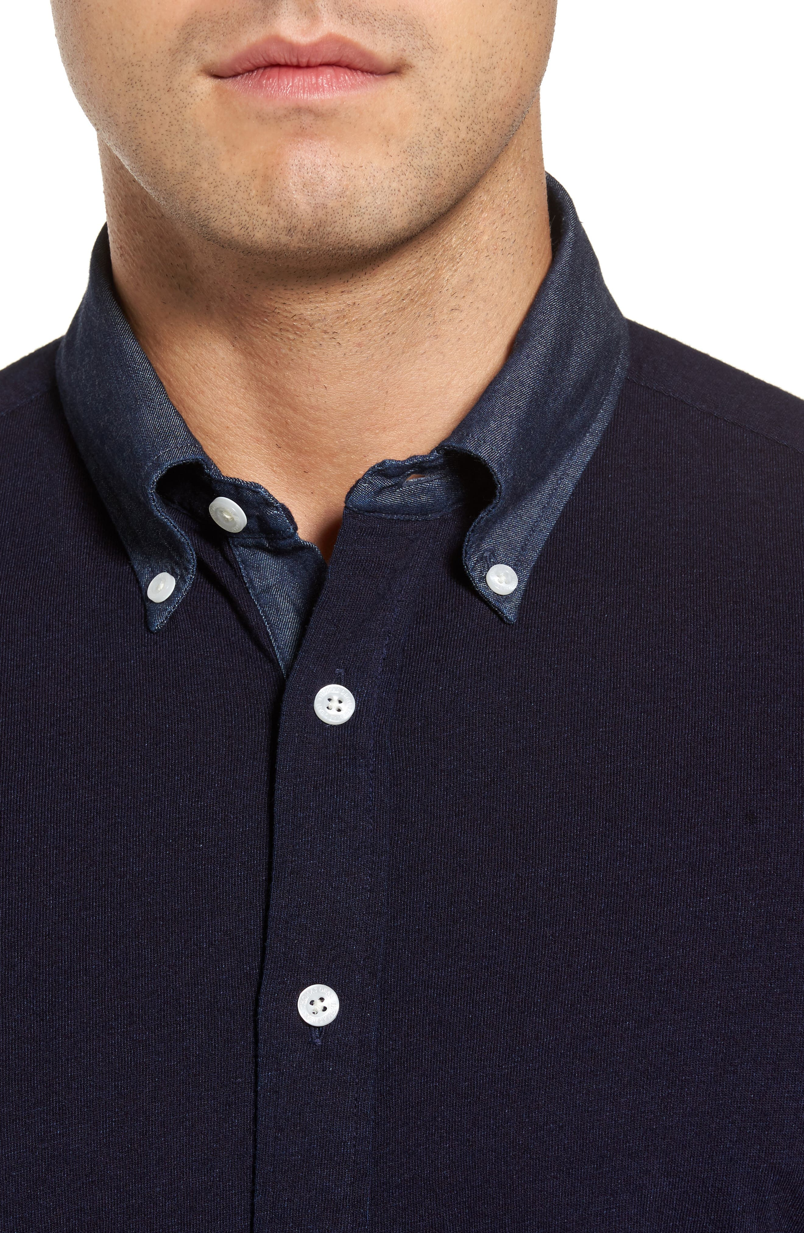 Regular Fit Chambray Trim Jersey Shirt,                             Alternate thumbnail 4, color,                             Indigo