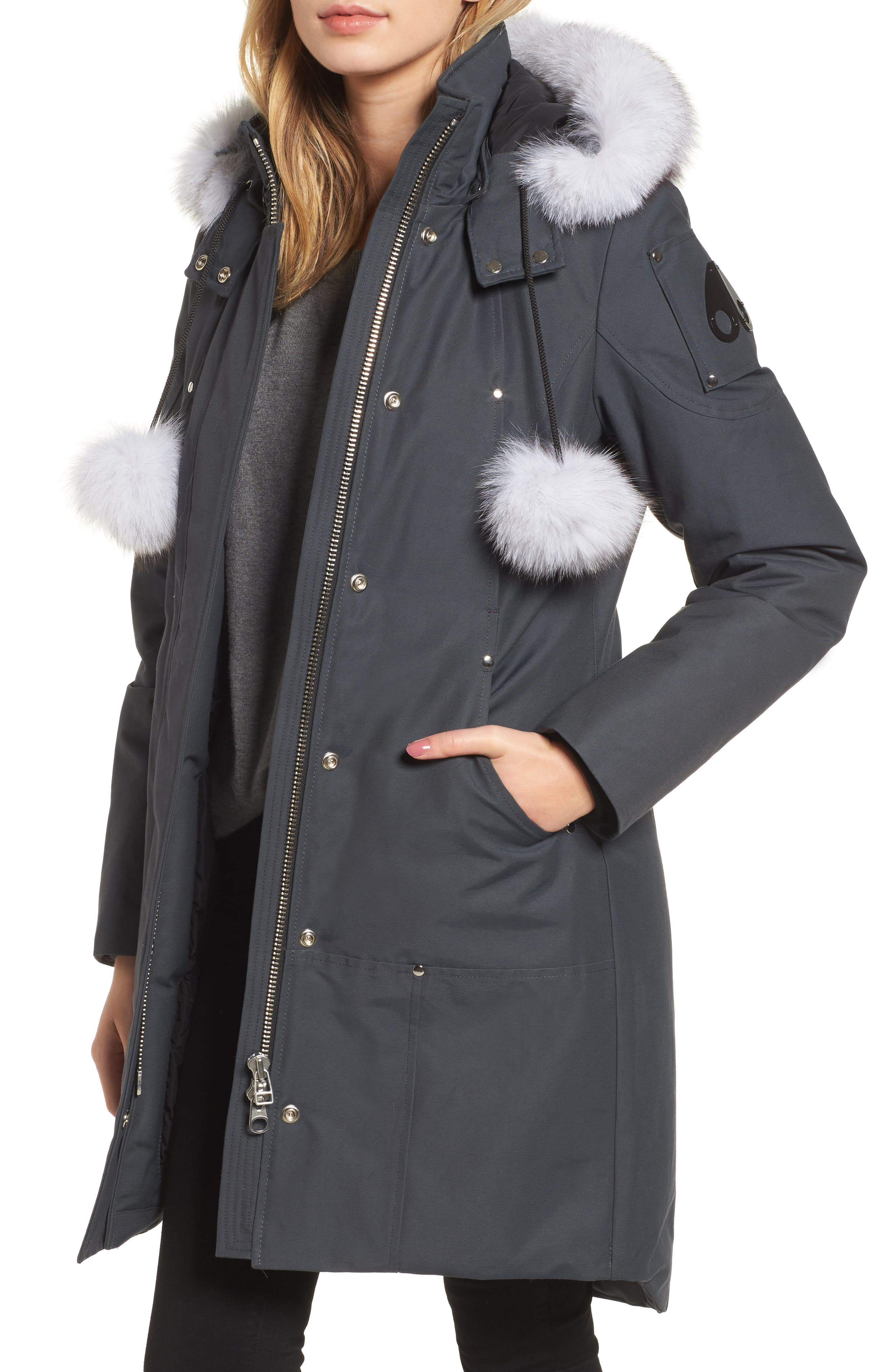 'Stirling' Down Parka with Genuine Fox Fur Trim,                             Main thumbnail 1, color,                             Granite/ White Fur