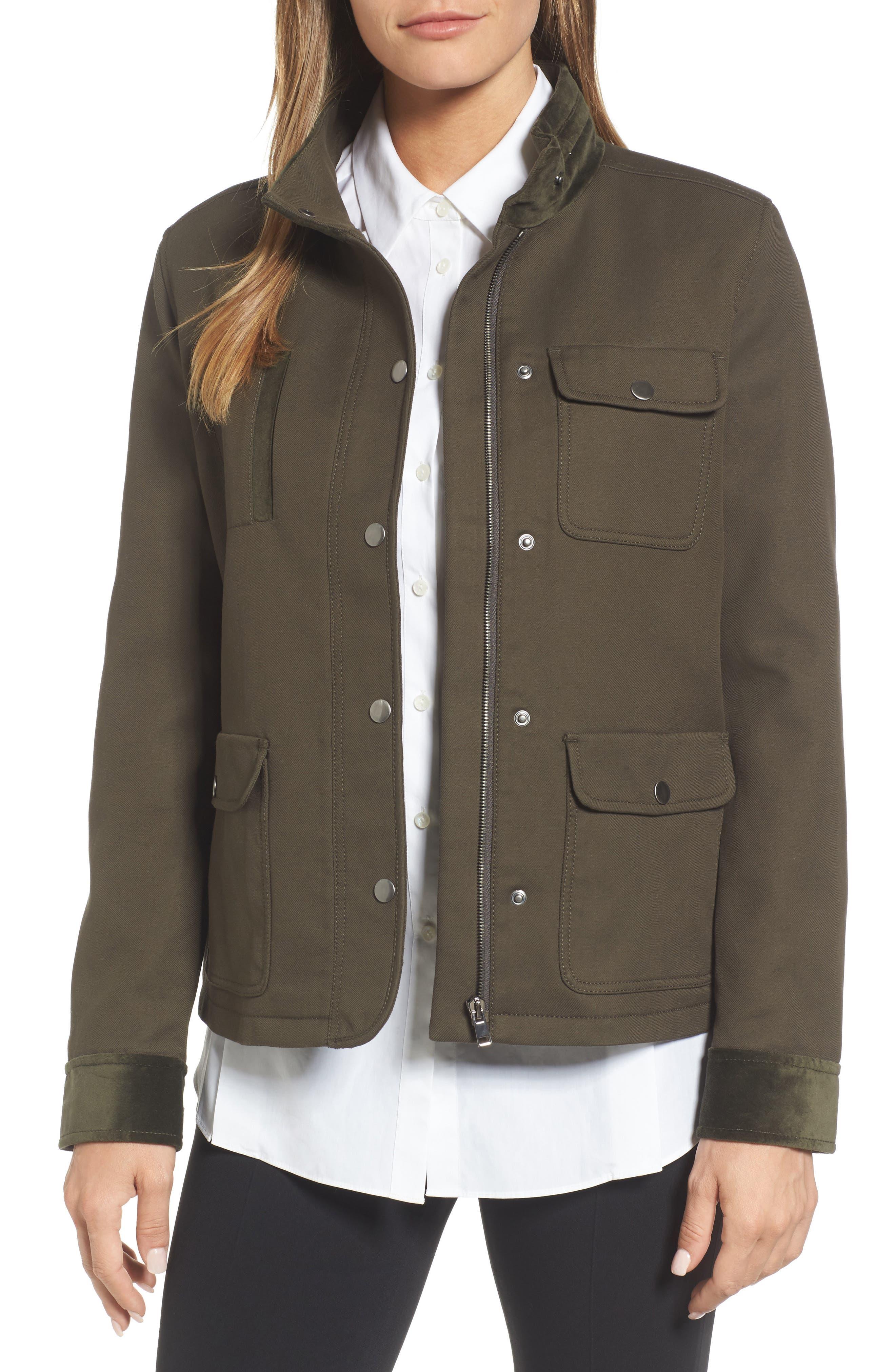 Alternate Image 1 Selected - Nordstrom Signature Velvet Back Utility Jacket