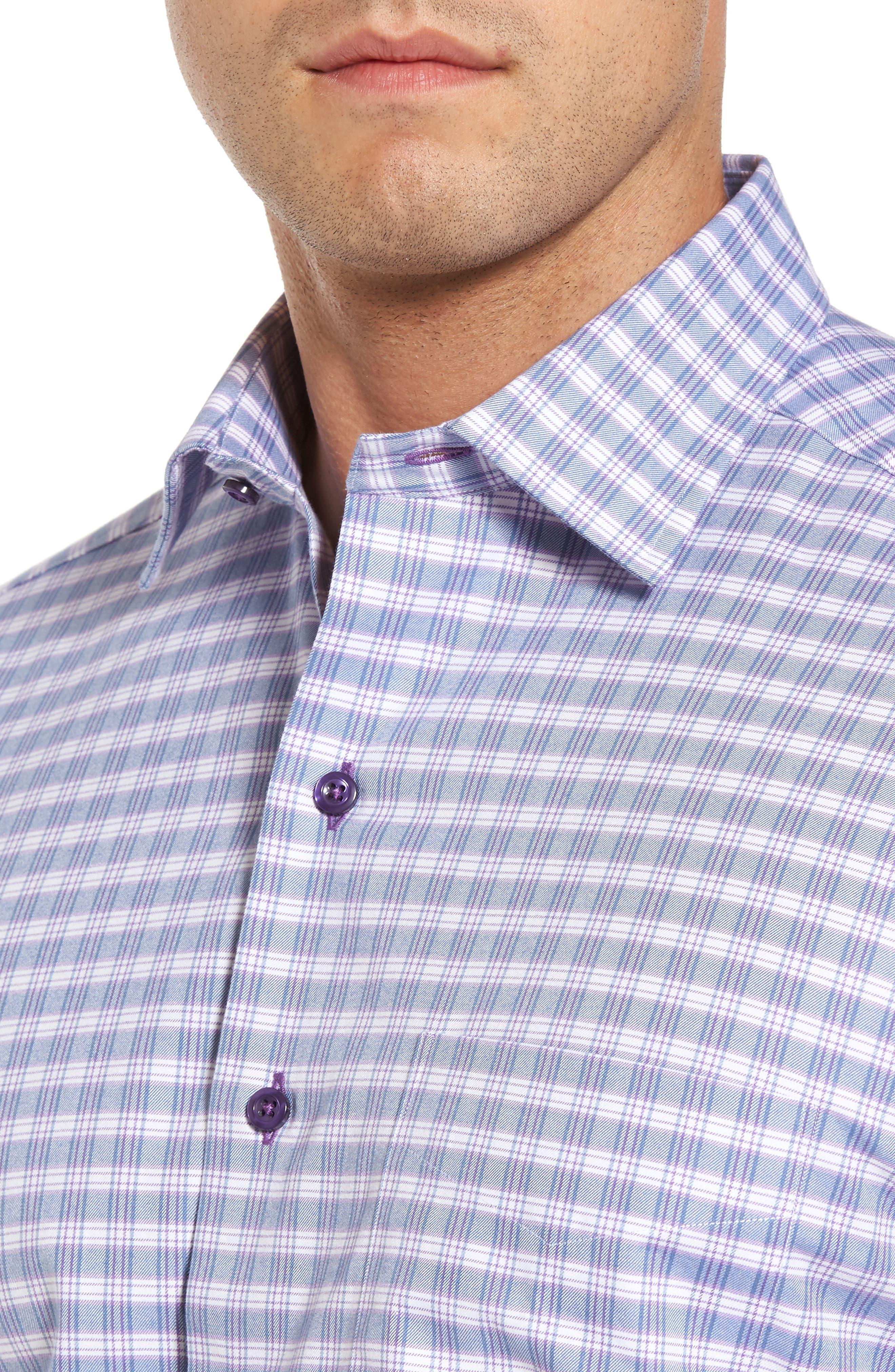 Check Regular Fit Sport Shirt,                             Alternate thumbnail 4, color,                             Blue/ Purple