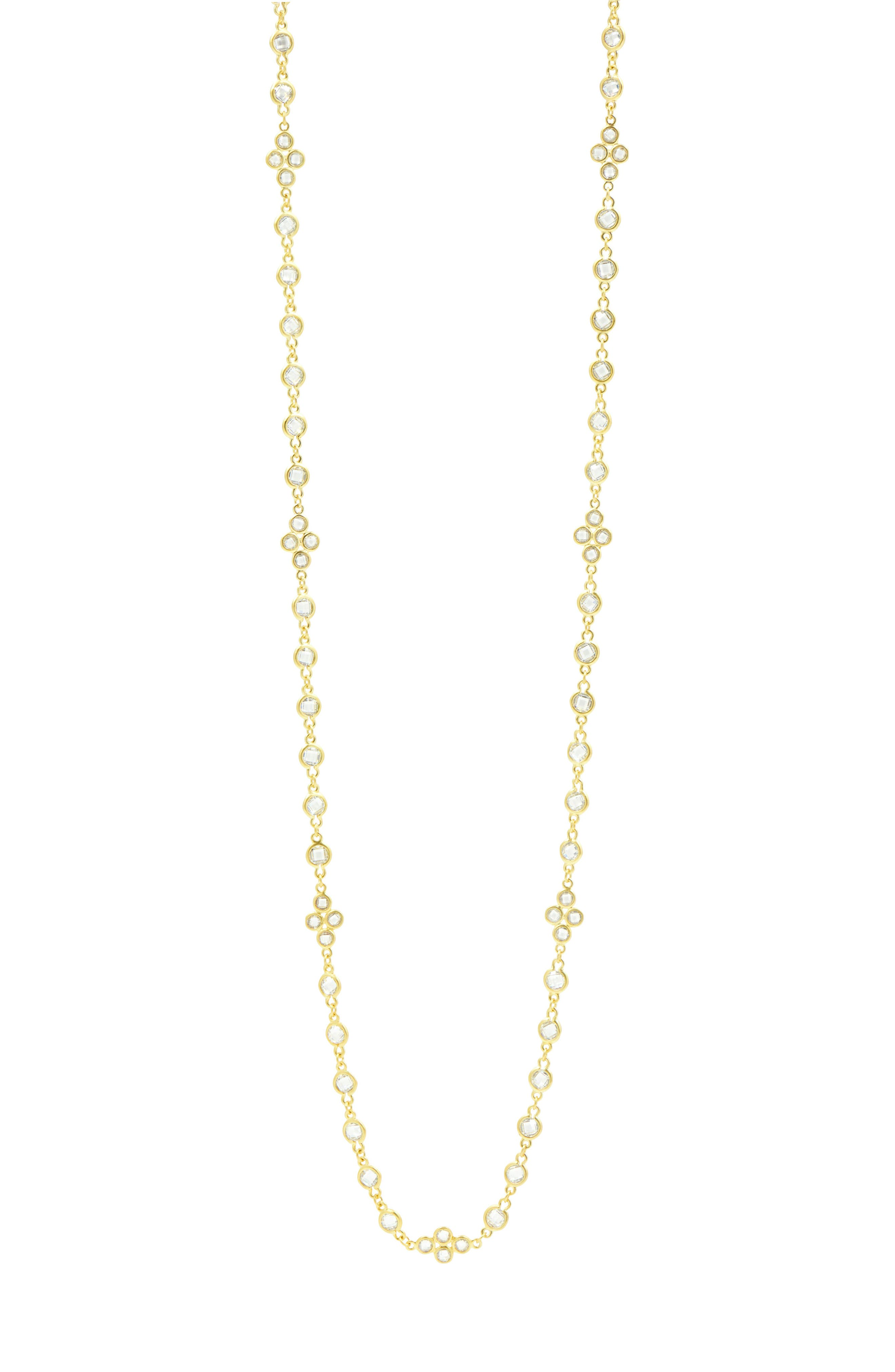 Cubic Zirconia Necklace,                             Alternate thumbnail 3, color,                             Gold/ Clear