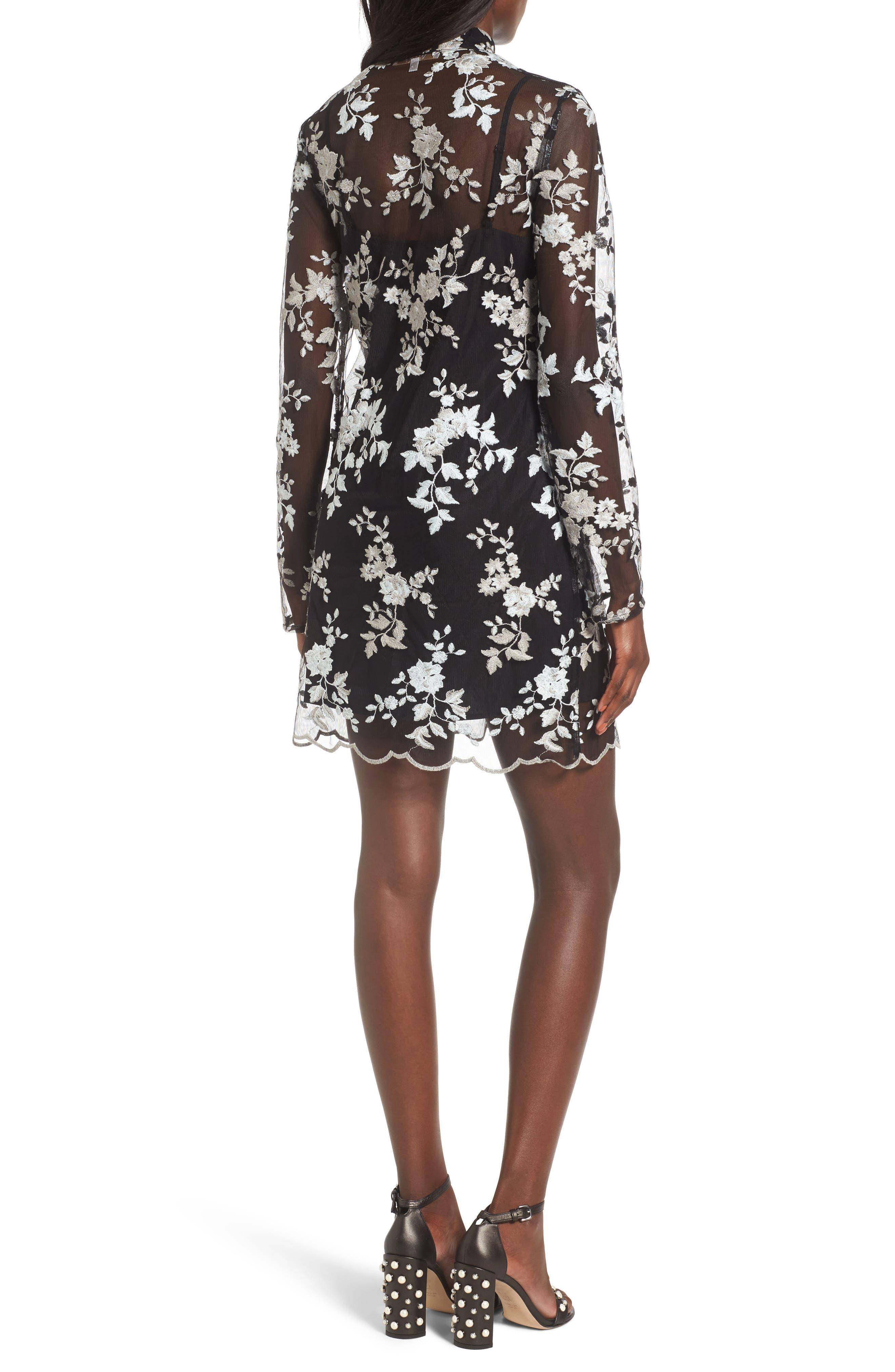 Romy Choker Mesh Minidress,                             Alternate thumbnail 2, color,                             Black/ Sage Embroidery