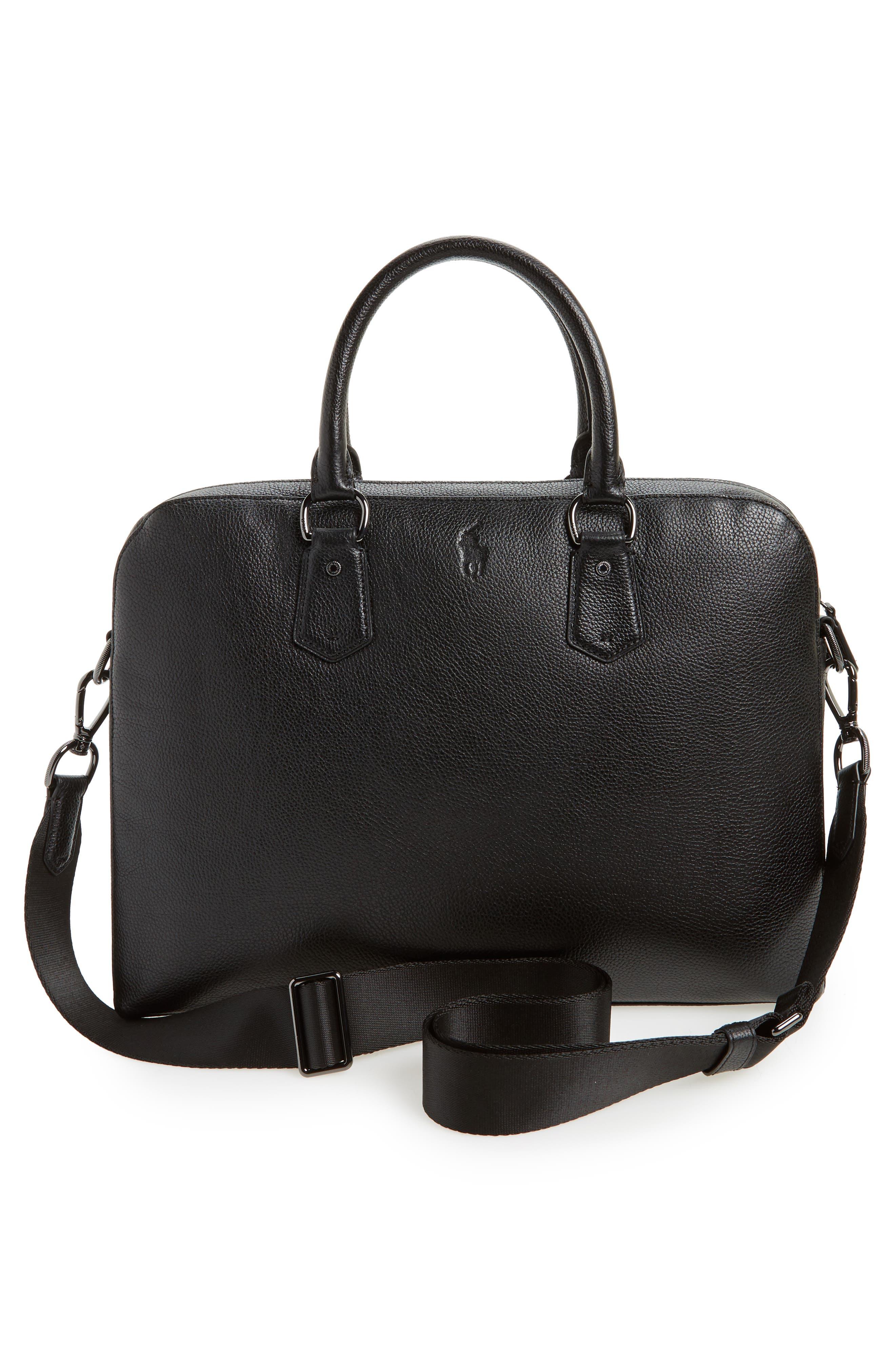 Commuter Leather Briefcase,                             Alternate thumbnail 3, color,                             Black