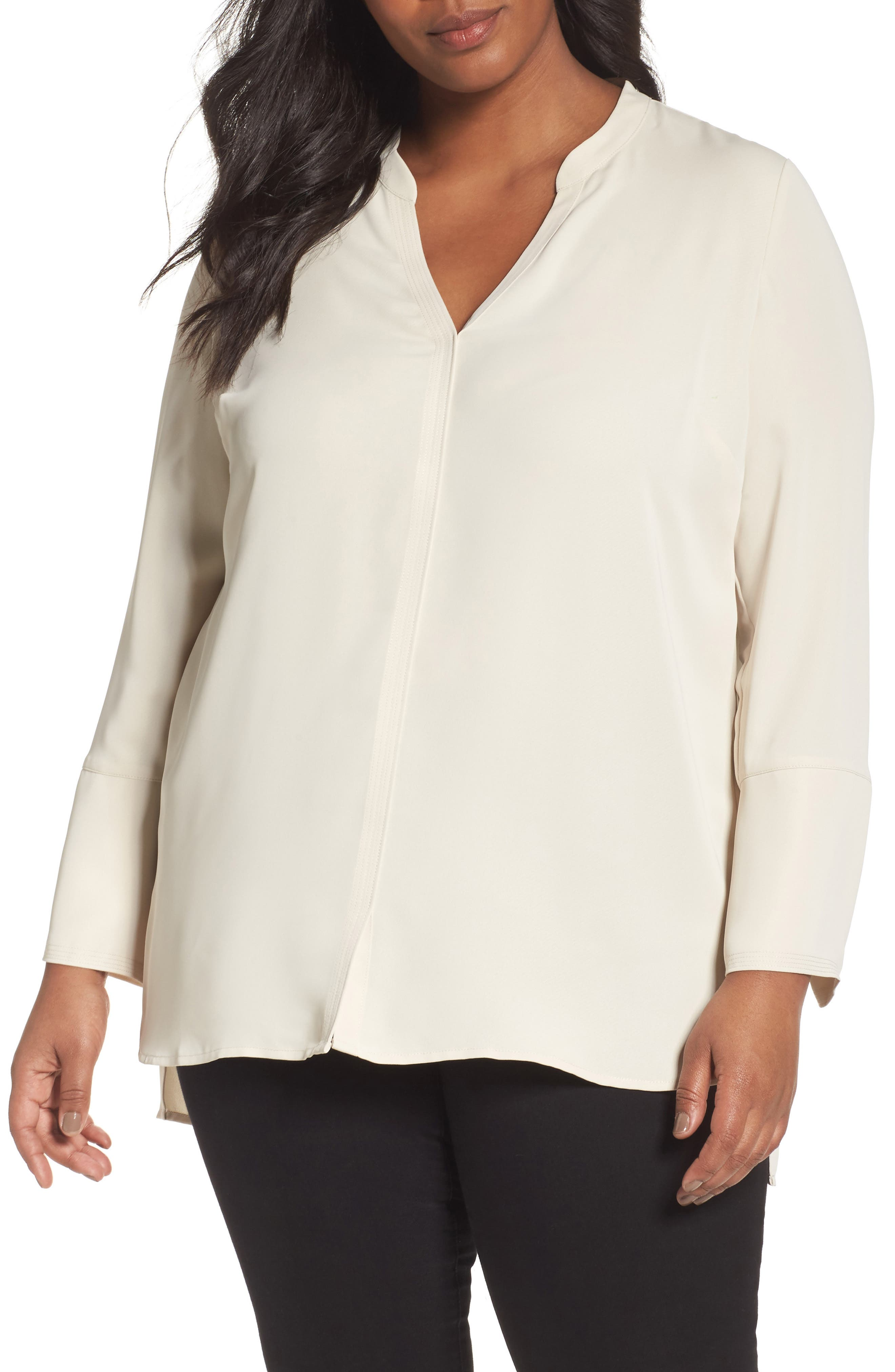 Alternate Image 1 Selected - NIC+ZOE Endless Empire Matte Satin Blouse (Plus Size)